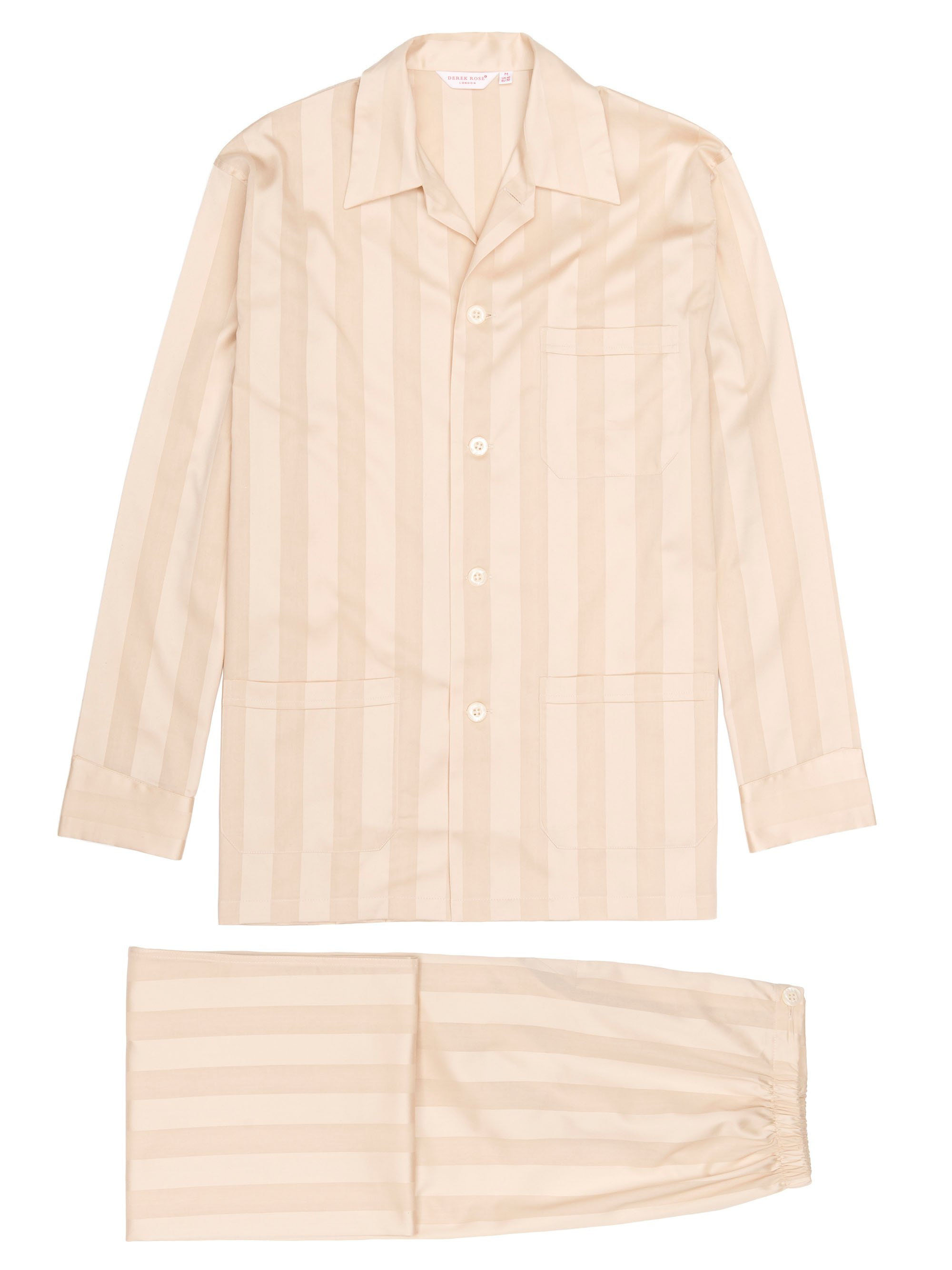 satin striped men's pyjama in ecru