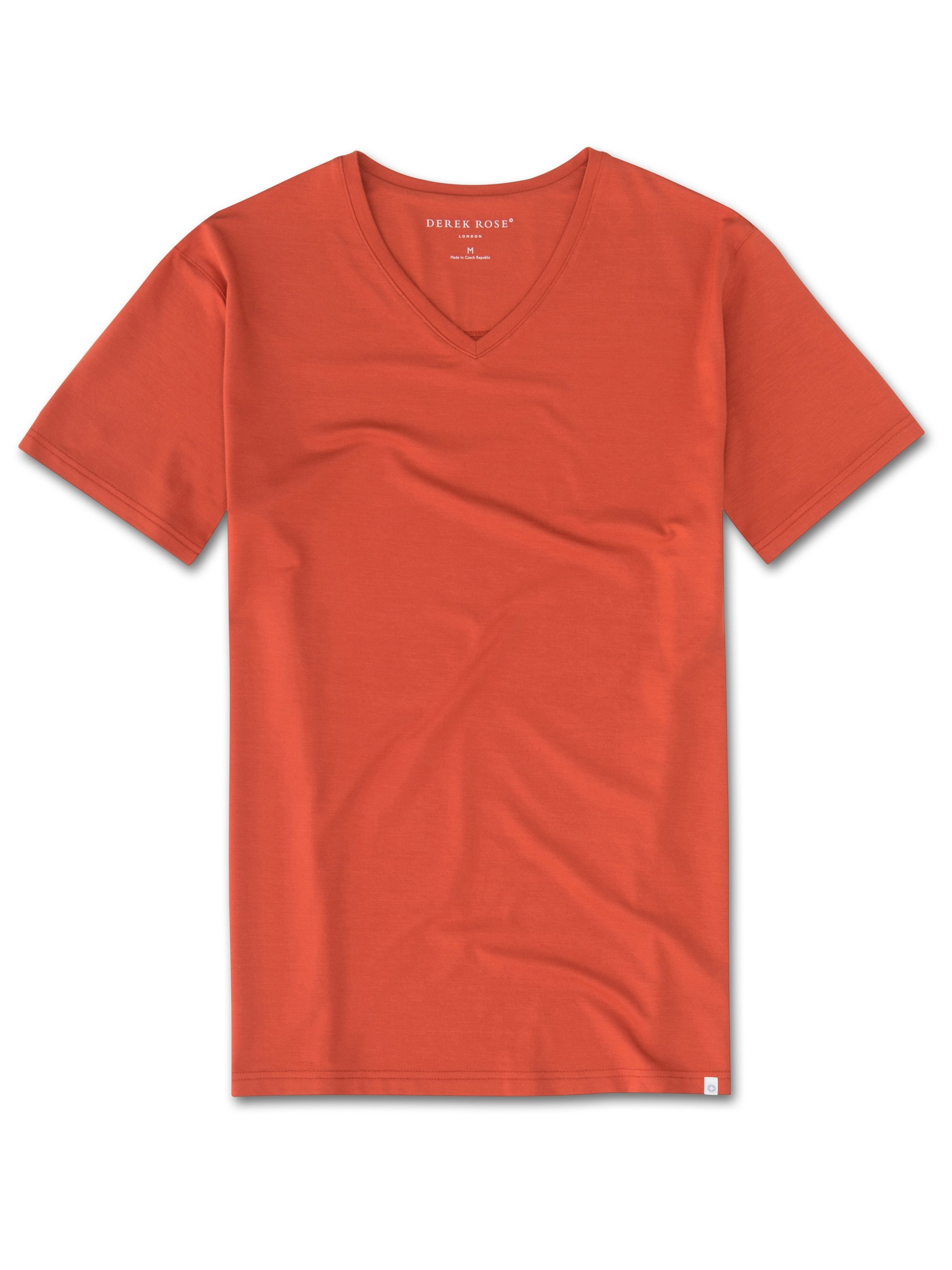 Men's Short Sleeve V-Neck T-Shirt Basel 5 Micro Modal Stretch Rust