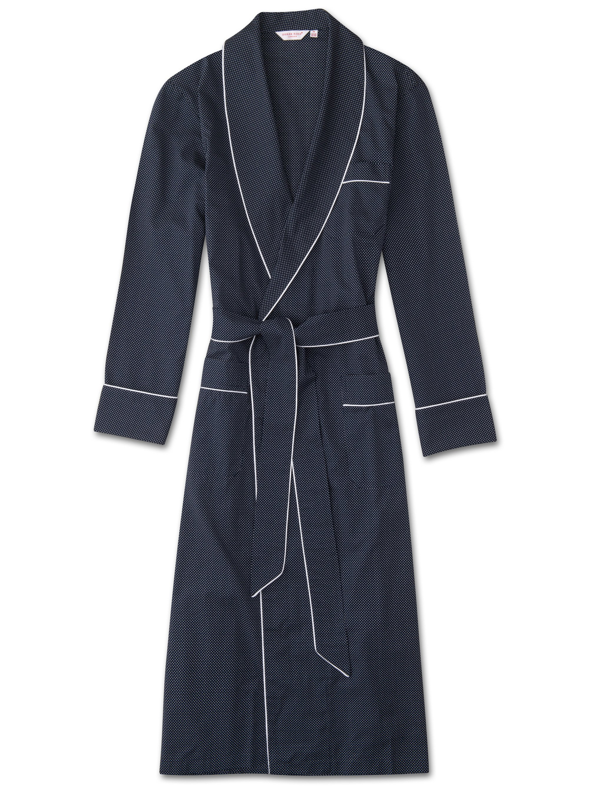 Men's Piped Dressing Gown Plaza 21 Cotton Batiste Polka Dot Navy