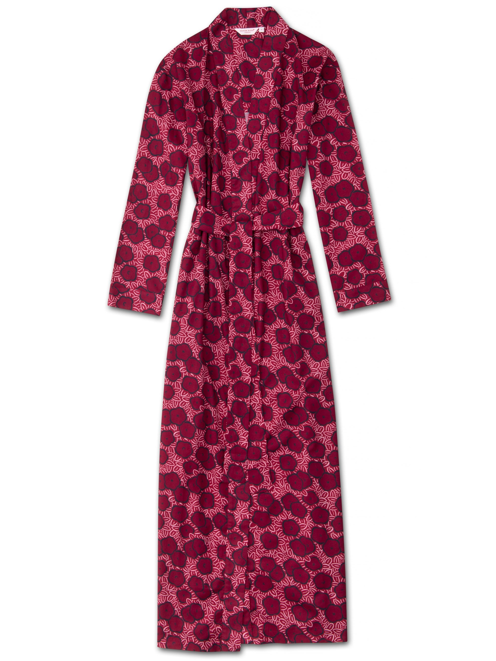 Women's Full Length Dressing Gown Ledbury 33 Cotton Batiste Pink
