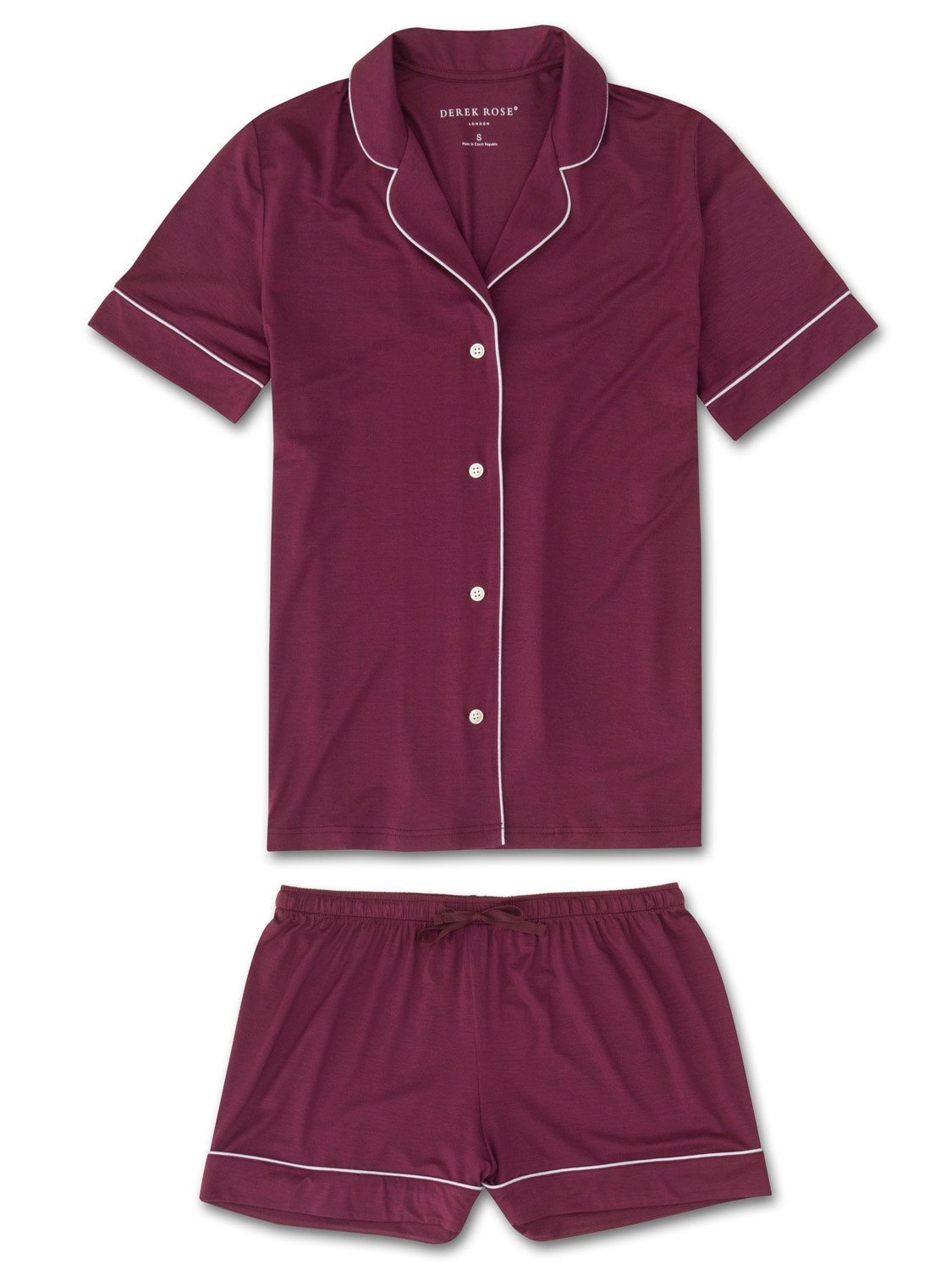 Women's Jersey Shortie Pyjamas Carla 4 Micro Modal Stretch Burgundy