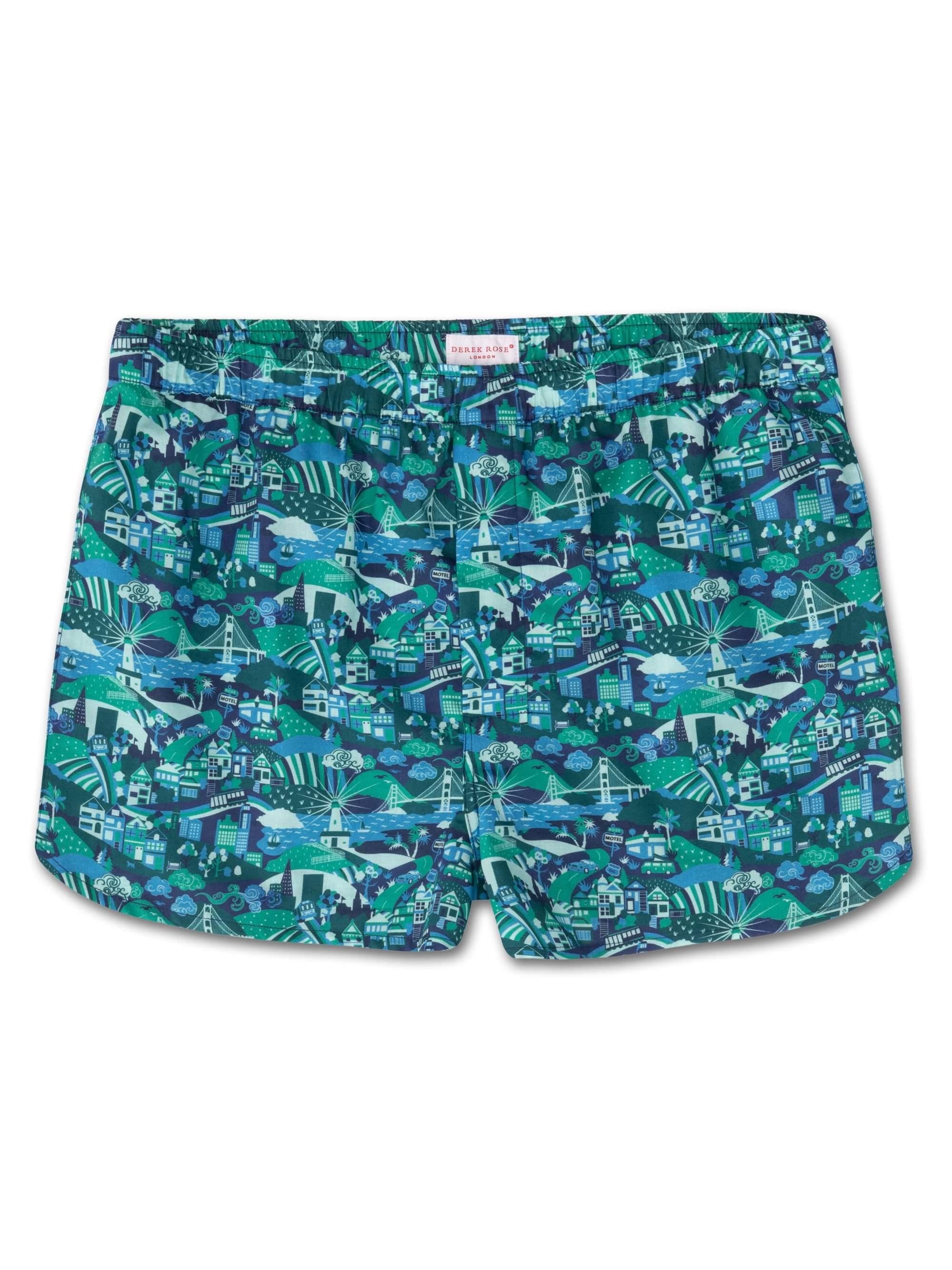 Men's Modern Fit Boxer Shorts Ledbury 19 Cotton Batiste Green