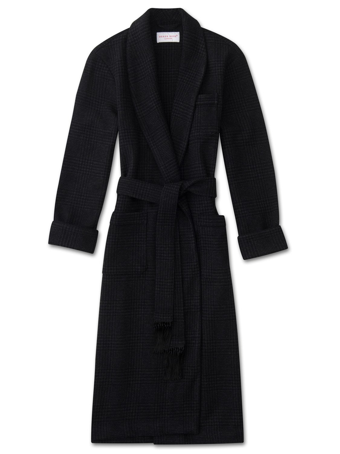 Men's Tasseled Belt Dressing Gown Blandford Merino Cashmere Check Charcoal