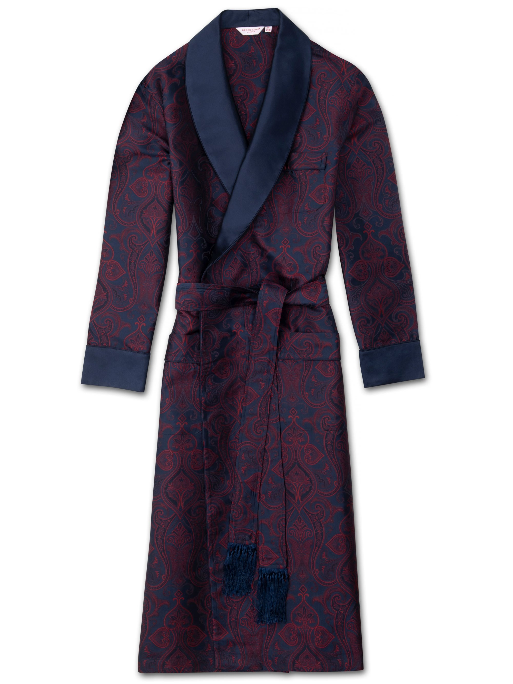 Men's Tasseled Belt Dressing Gown Verona 49 Pure Silk Jacquard Navy