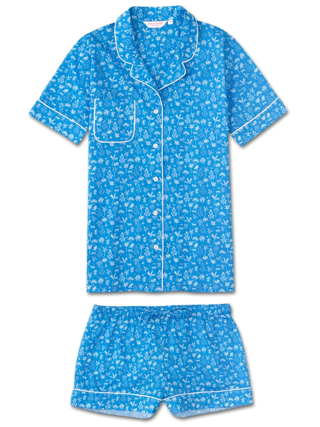 Women's Shortie Pyjamas Ledbury 8 Cotton Batiste Blue