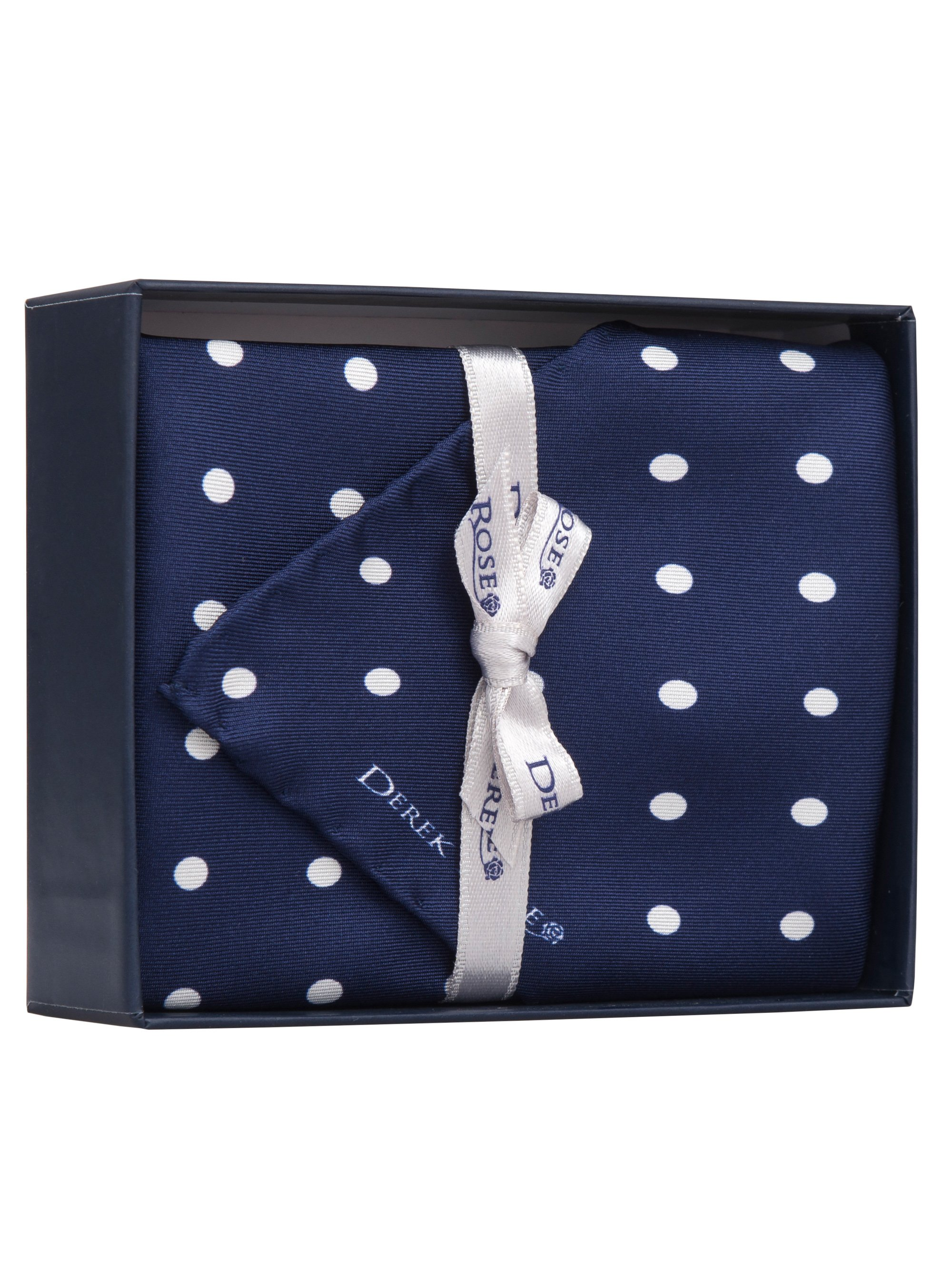 Handkerchief Set Pure Silk Polka Dot Navy