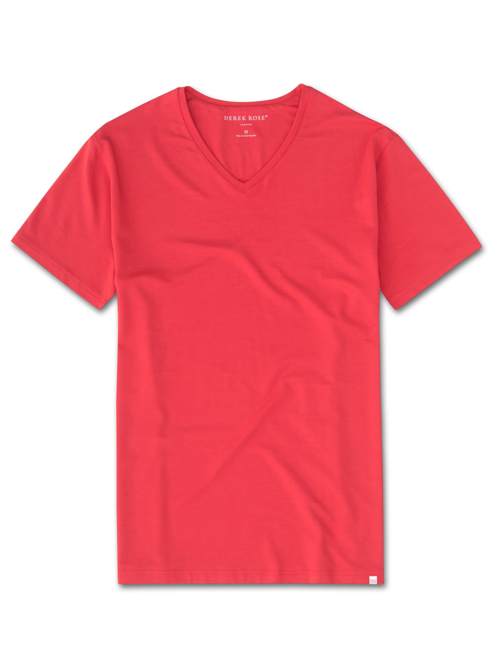 Men's Short Sleeve V-Neck T-Shirt Basel 6 Micro Modal Stretch Red
