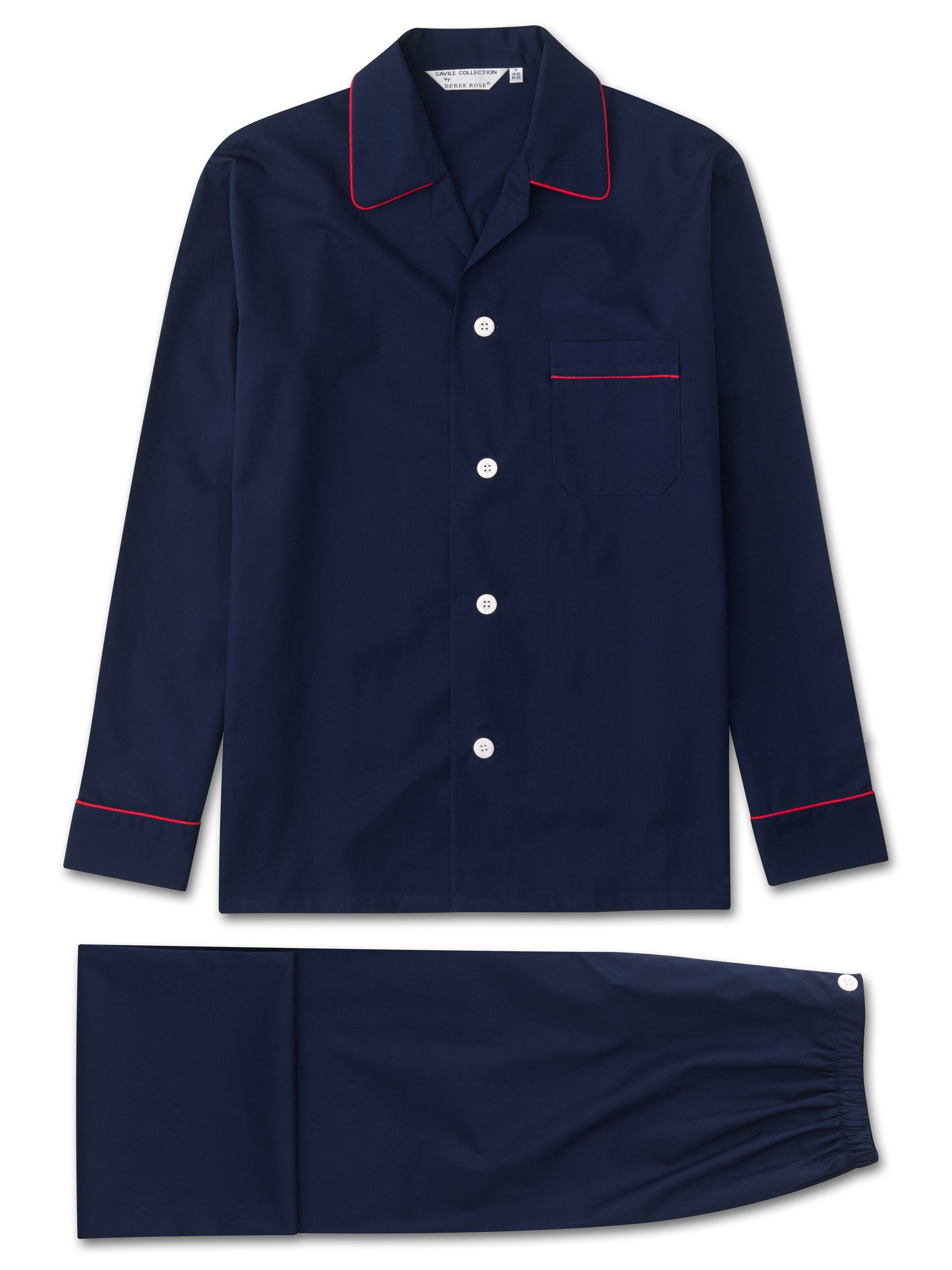 Men's Classic Fit Piped Pyjamas Savoy Cotton Elasticated Waist Navy