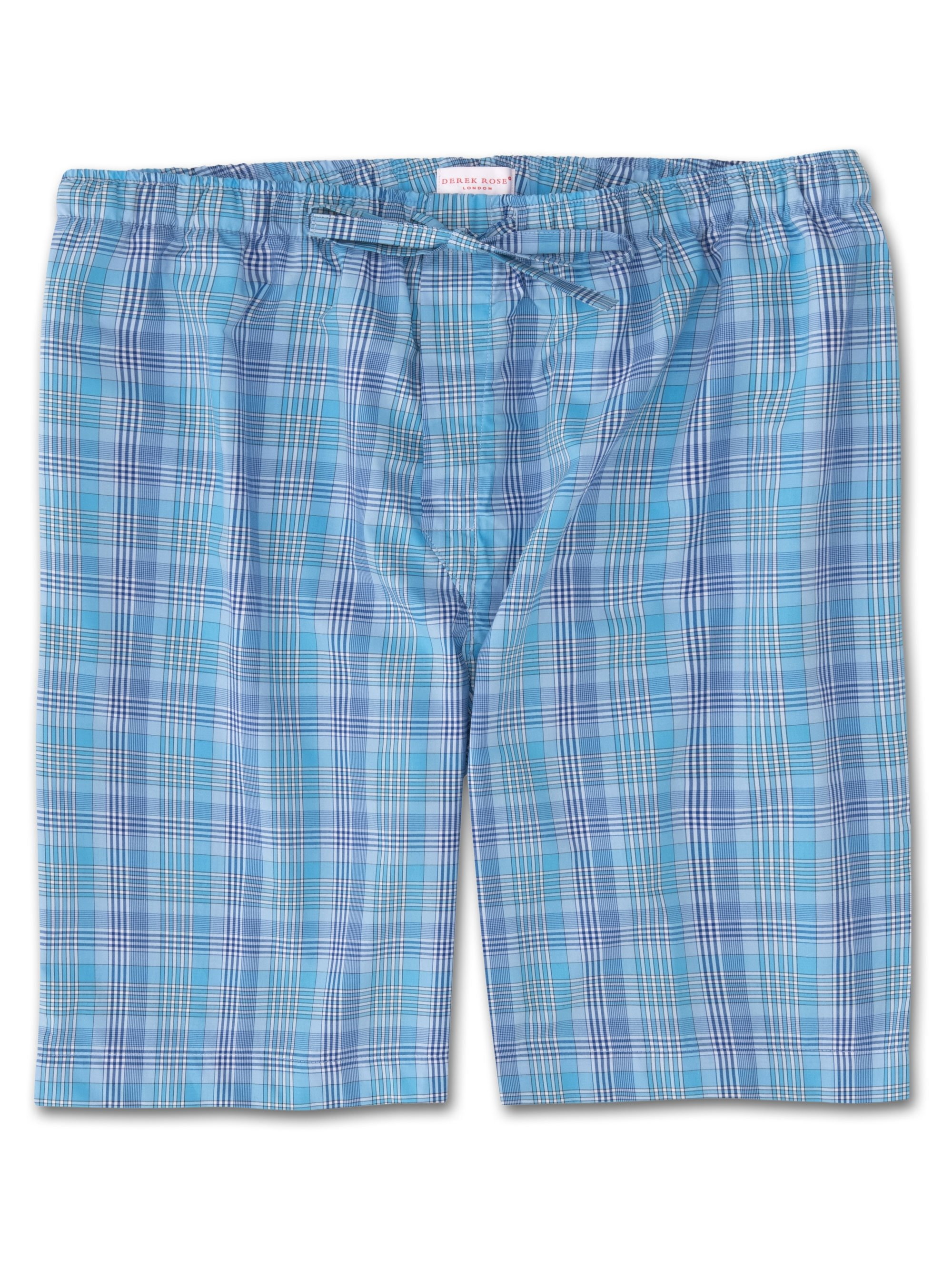 Men's Lounge Shorts Barker 20 Cotton Check Blue