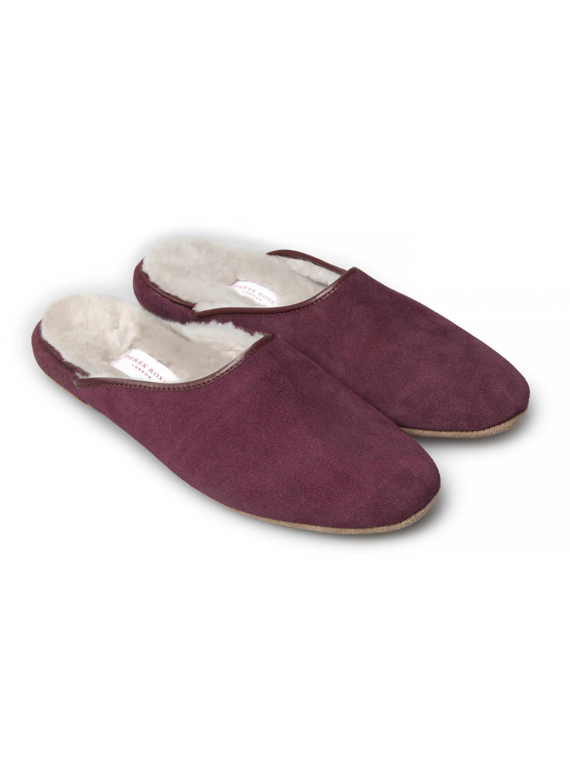 Men's Open-Back Slipper Douglas Suede Sheepskin Bordeaux