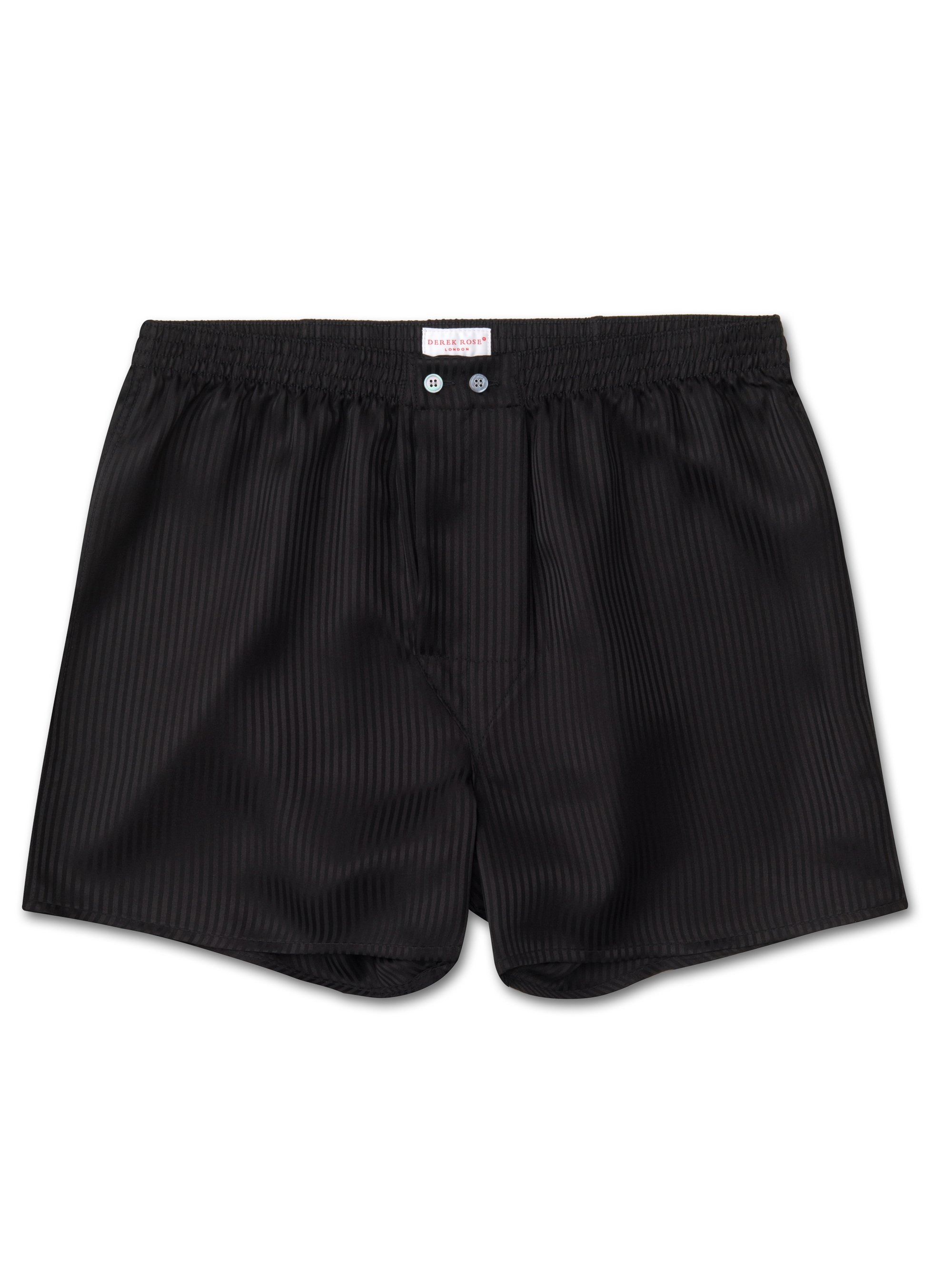 Men's Classic Fit Boxer Shorts Woburn Pure Silk Satin Stripe Black