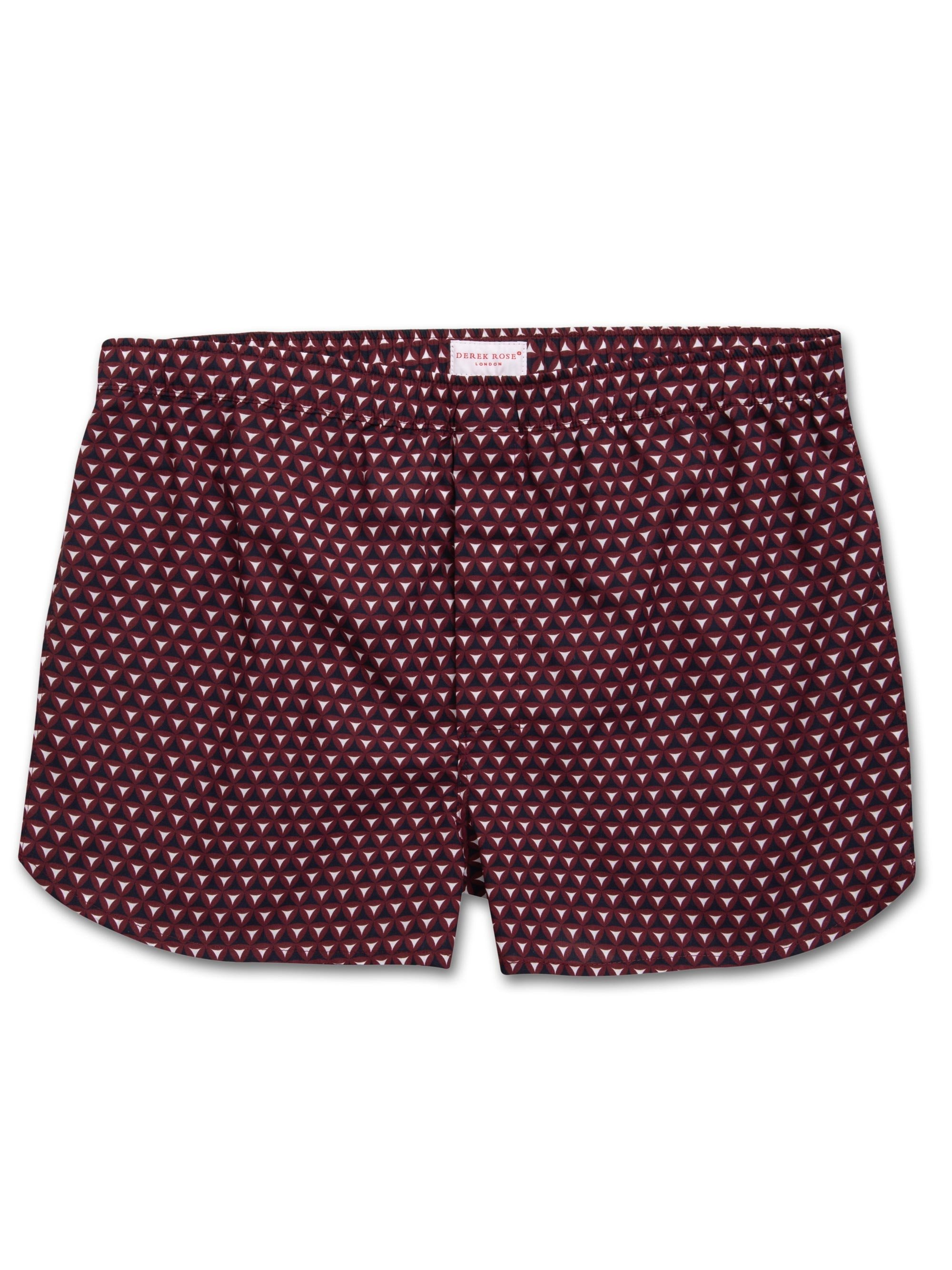 Men's Modern Fit Boxer Shorts Ledbury 26 Cotton Batiste Burgundy