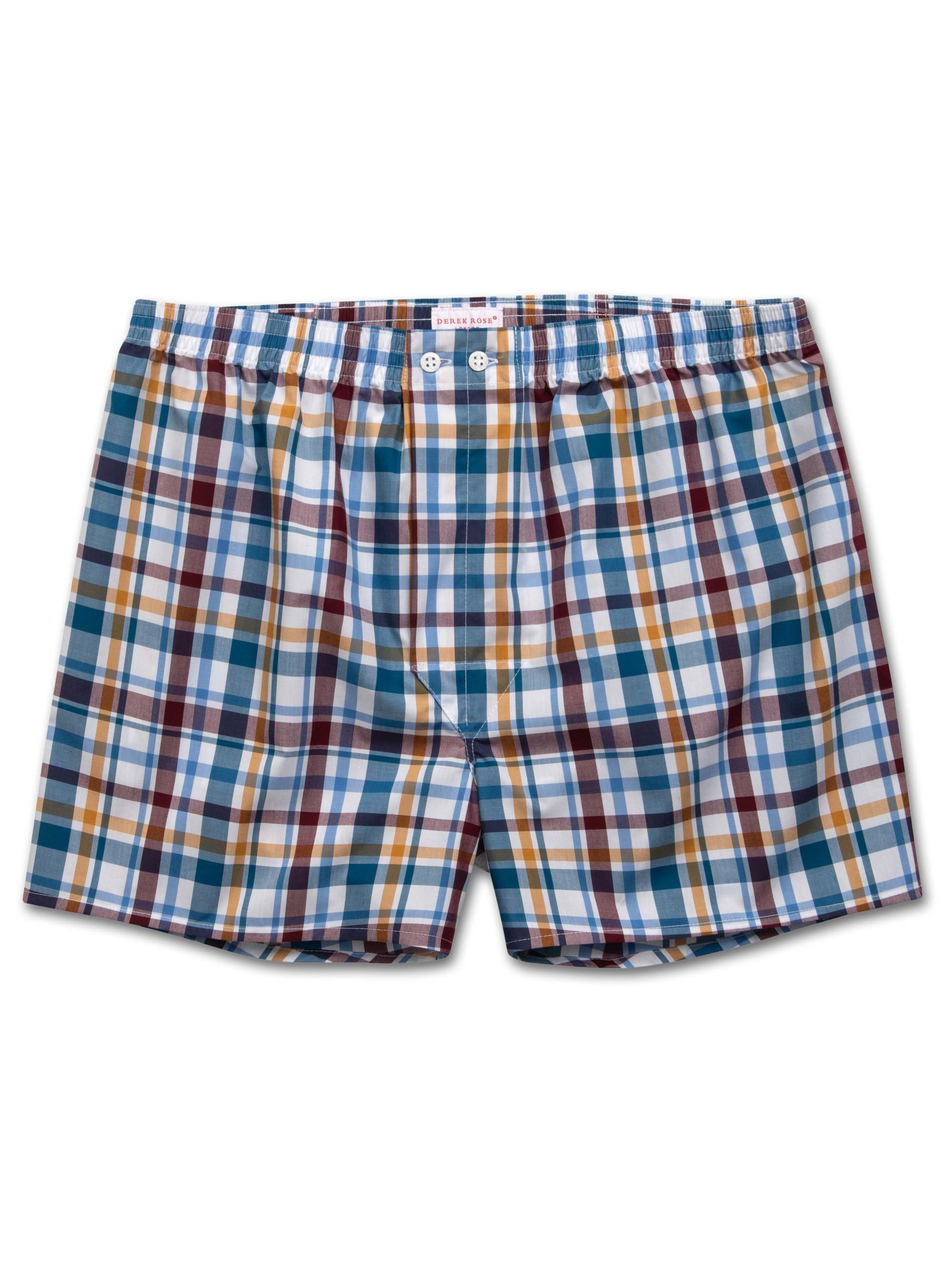 Men's Classic Fit Boxer Shorts Barker 25 Cotton Check Multi