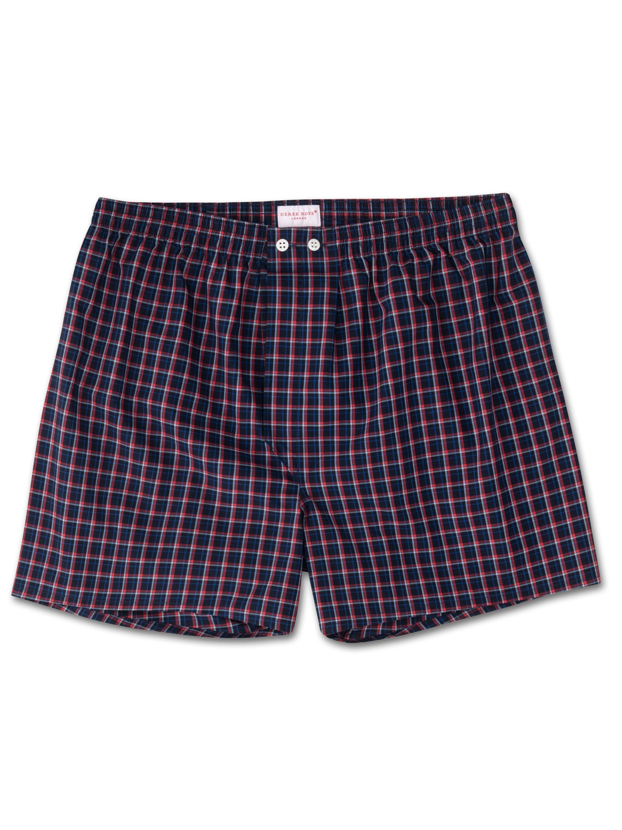 Men's Classic Fit Boxer Shorts Barker 22 Cotton Check Navy