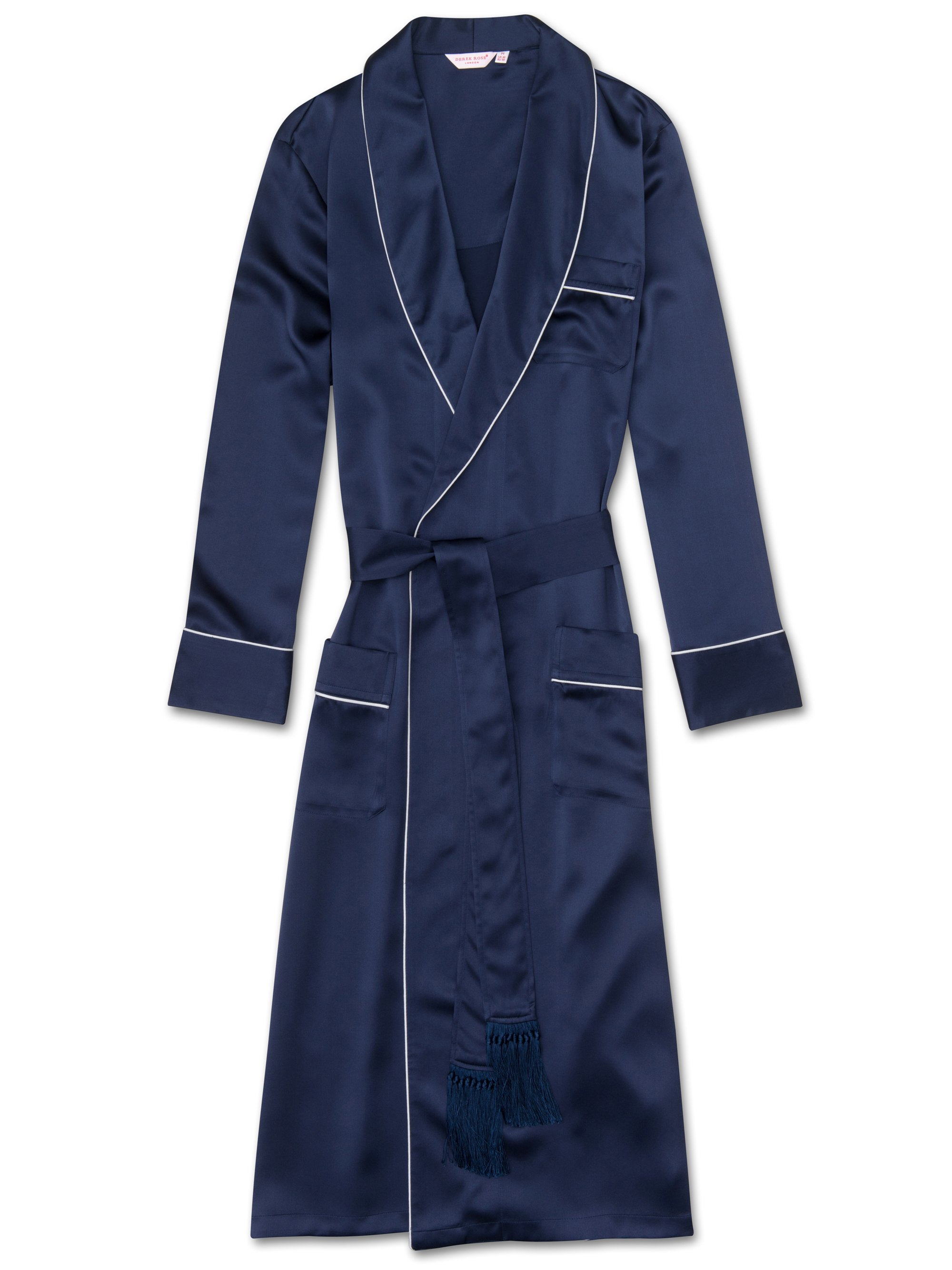 Men's Tasseled Belt Dressing Gown Bailey Pure Silk Satin Navy