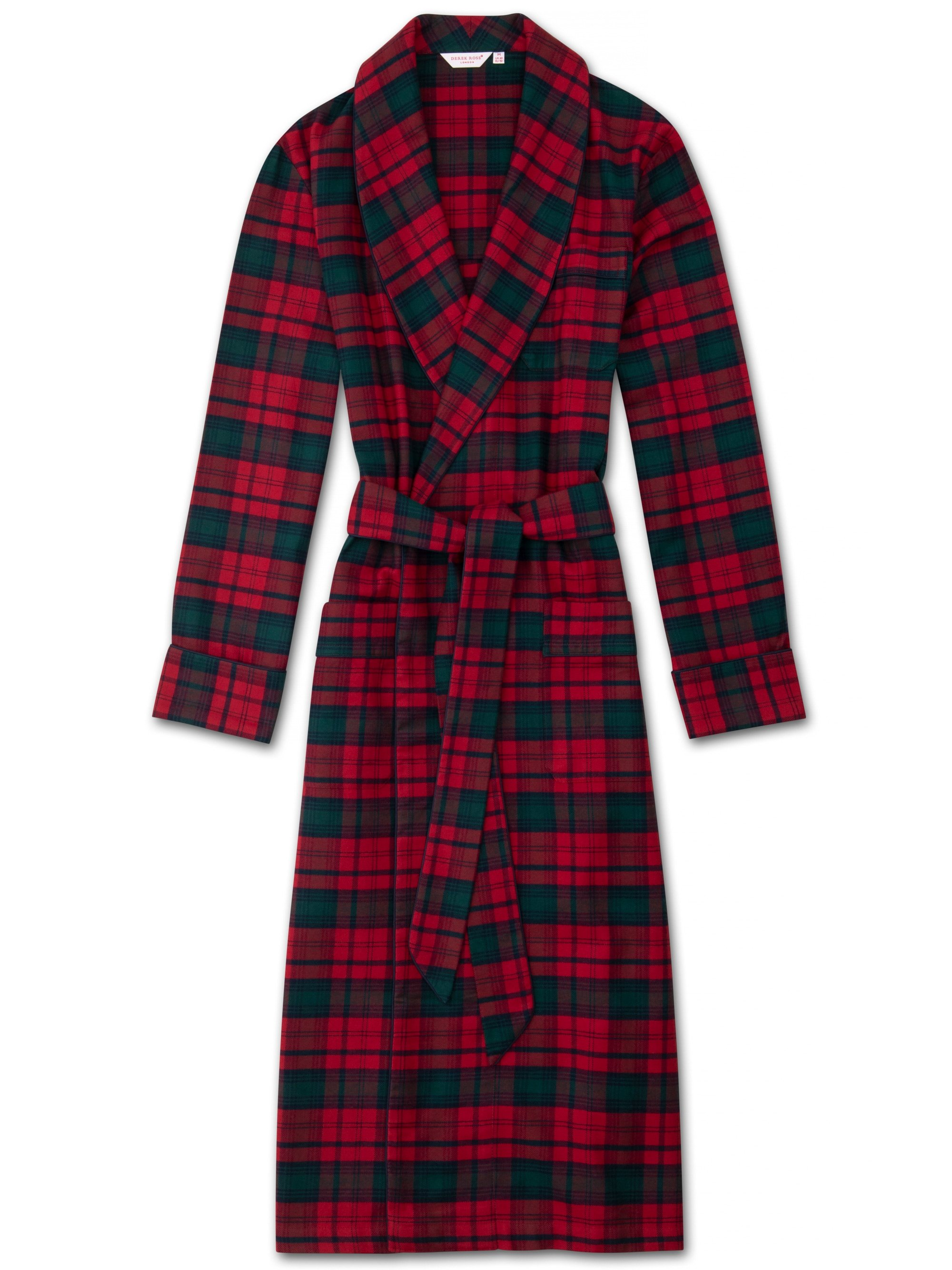 Men's Piped Dressing Gown Kelburn 9 Brushed Cotton Check Red