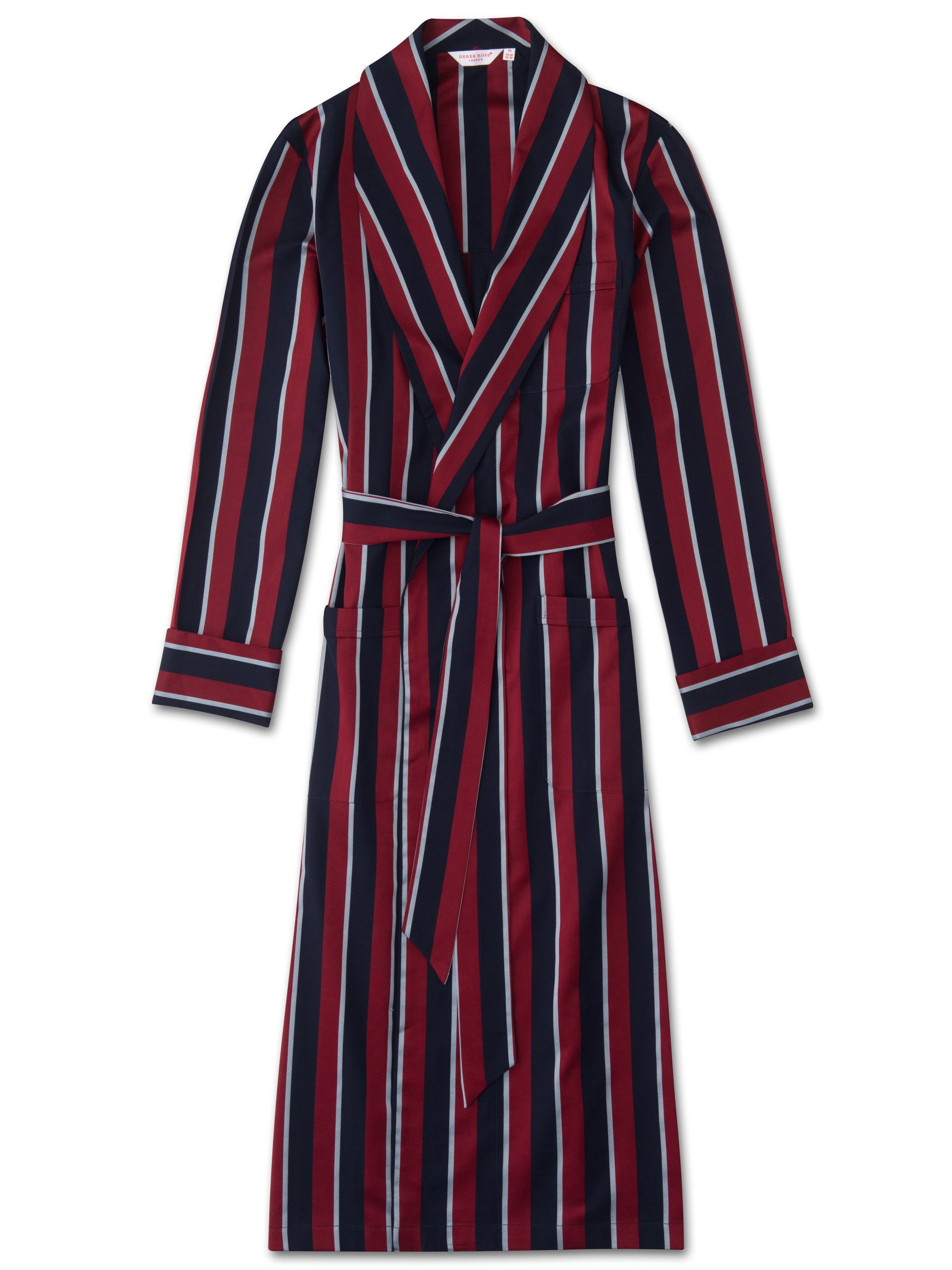 Men's Classic Dressing Gown Cotton Satin Stripe Regimental RAF