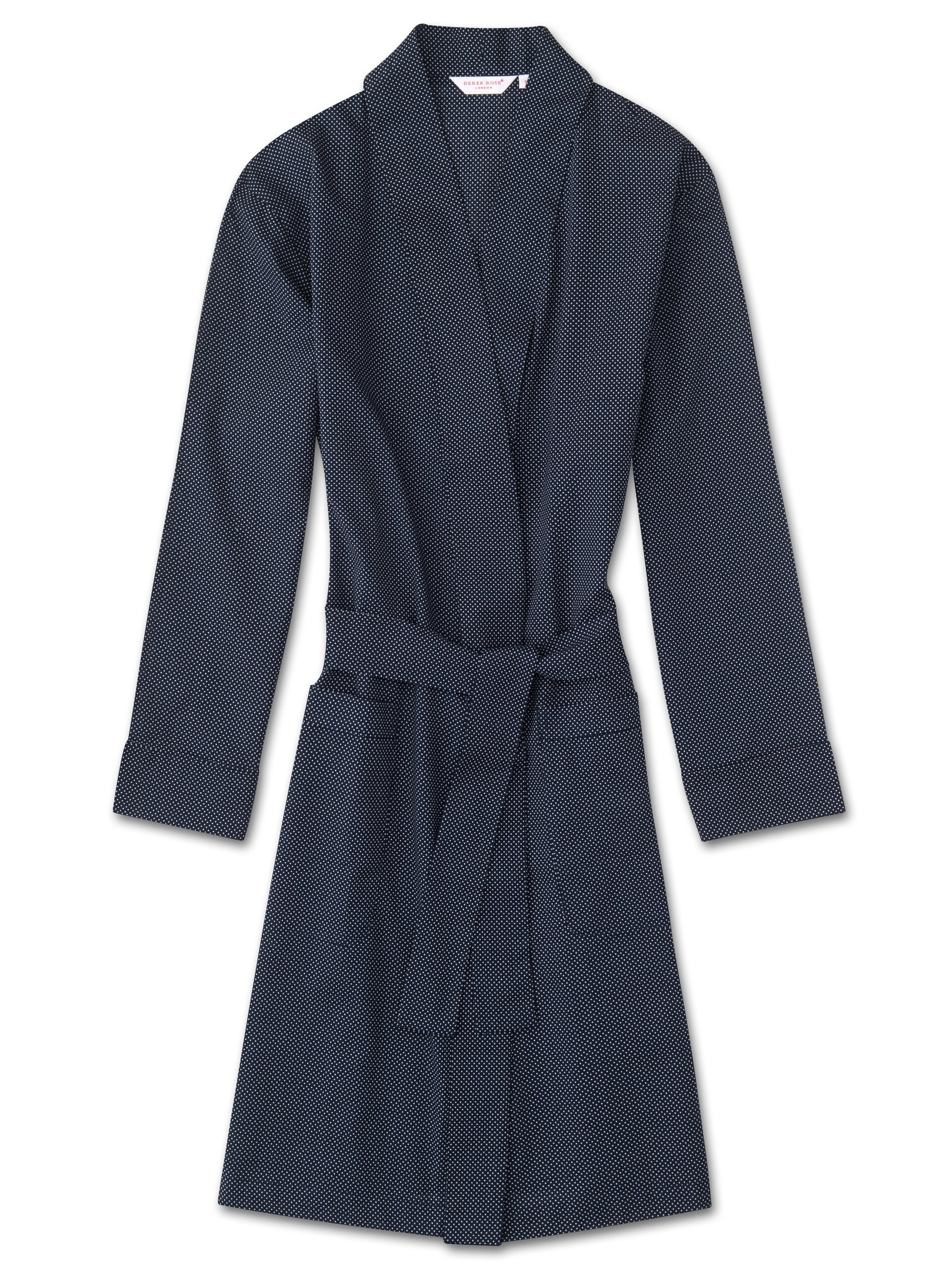 Women's Dressing Gown Plaza 21 Cotton Batiste Polka Dot Navy