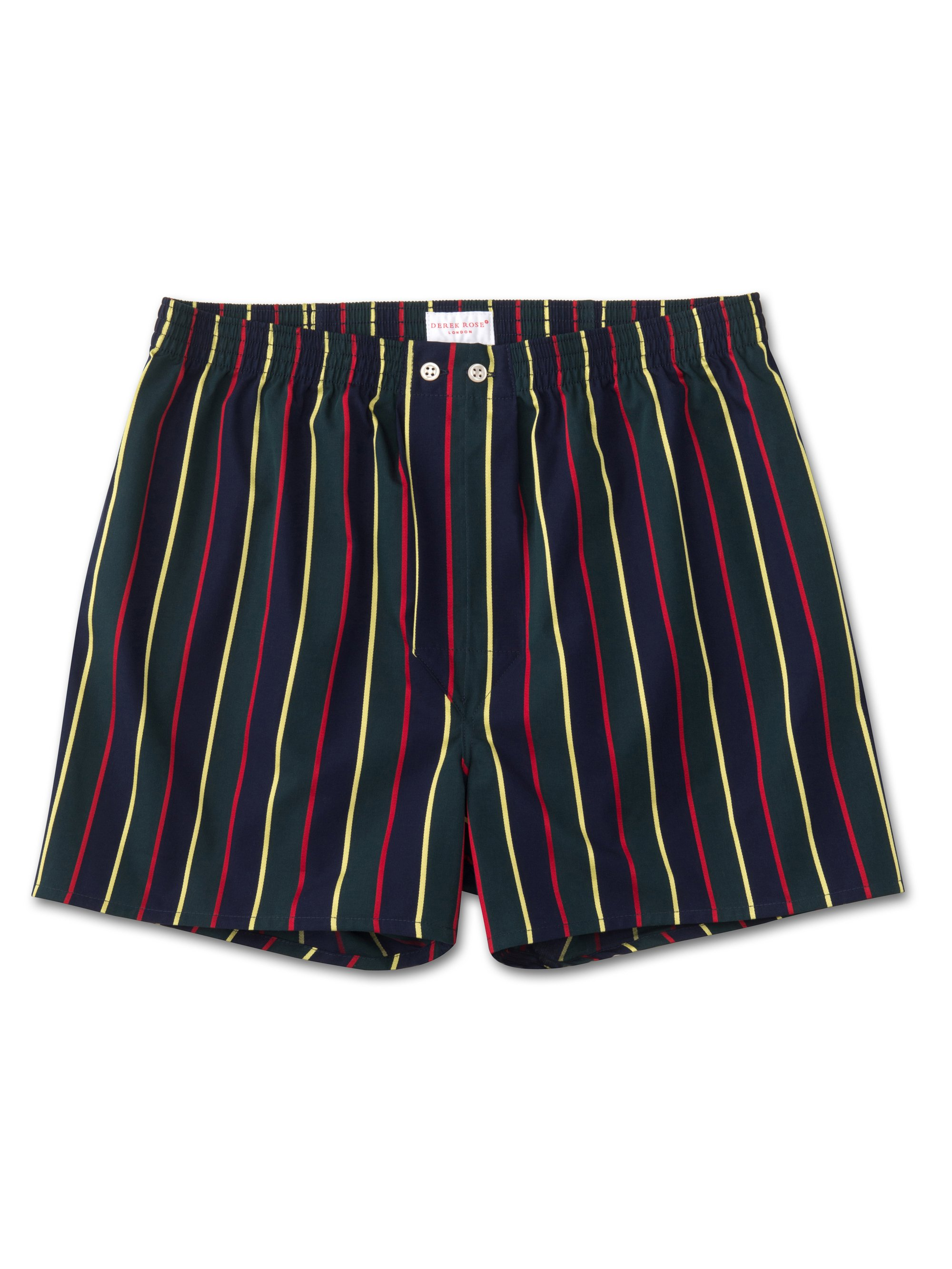 Men's Classic Fit Boxer Shorts Pure Cotton Satin Stripe Regimental ASH