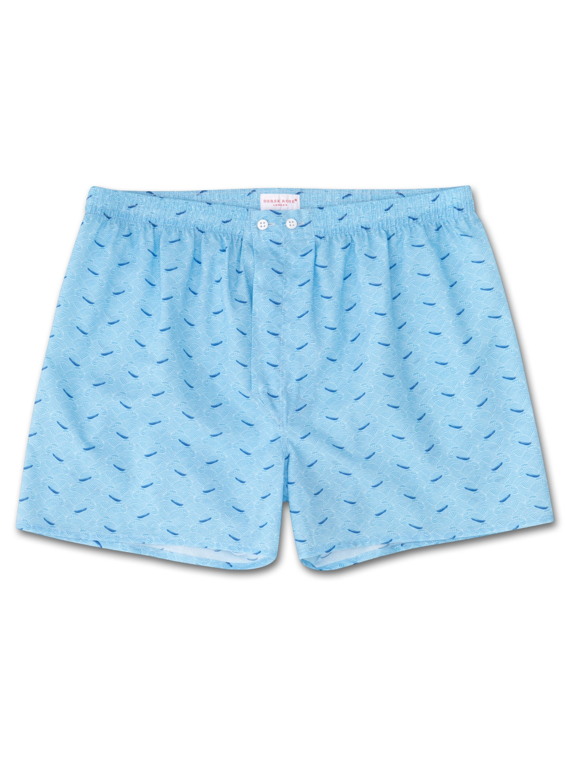 Men's Classic Fit Boxer Shorts Ledbury 12 Cotton Batiste Blue
