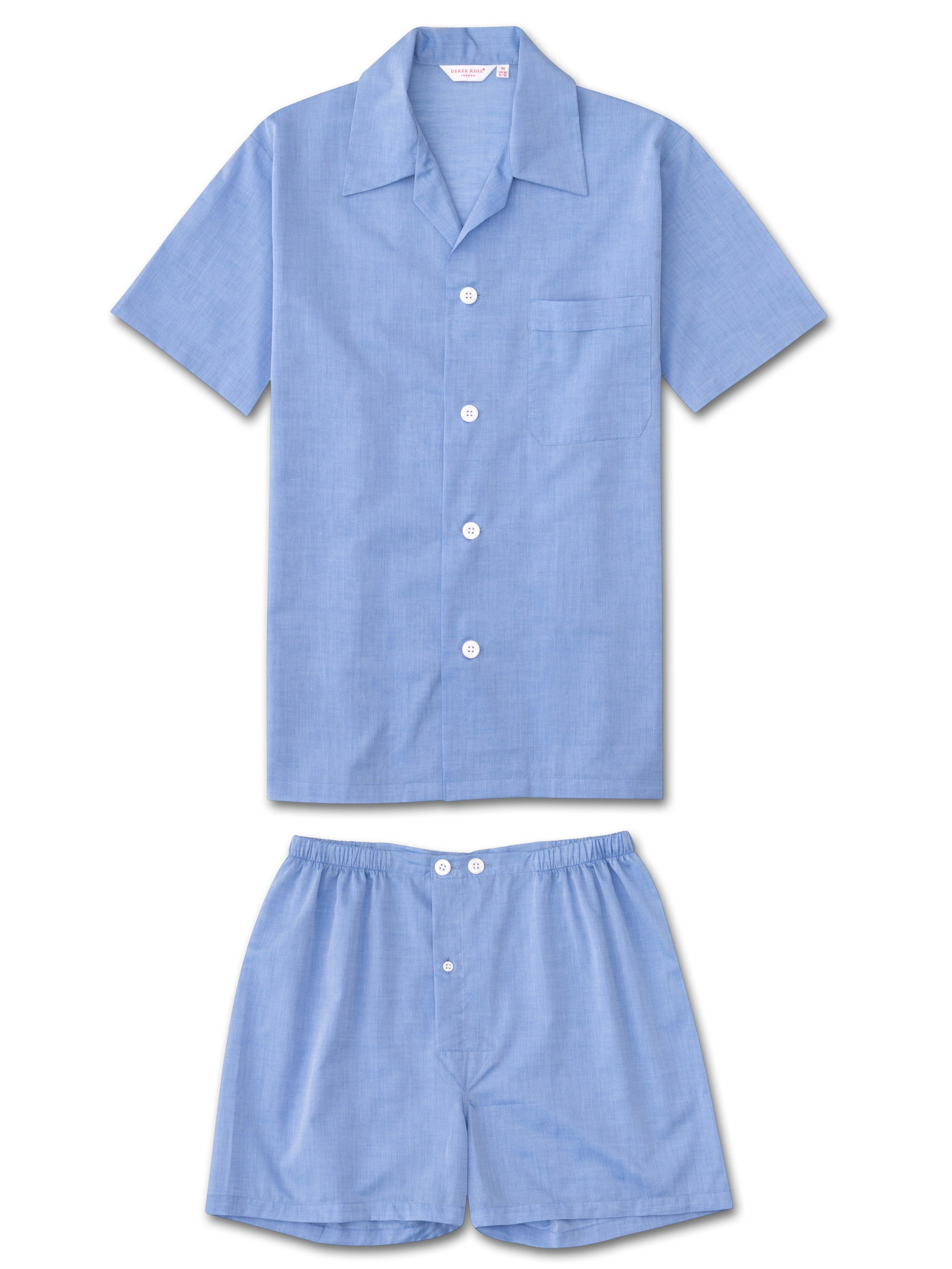 Men's Short Pyjamas Amalfi Cotton Batiste Blue