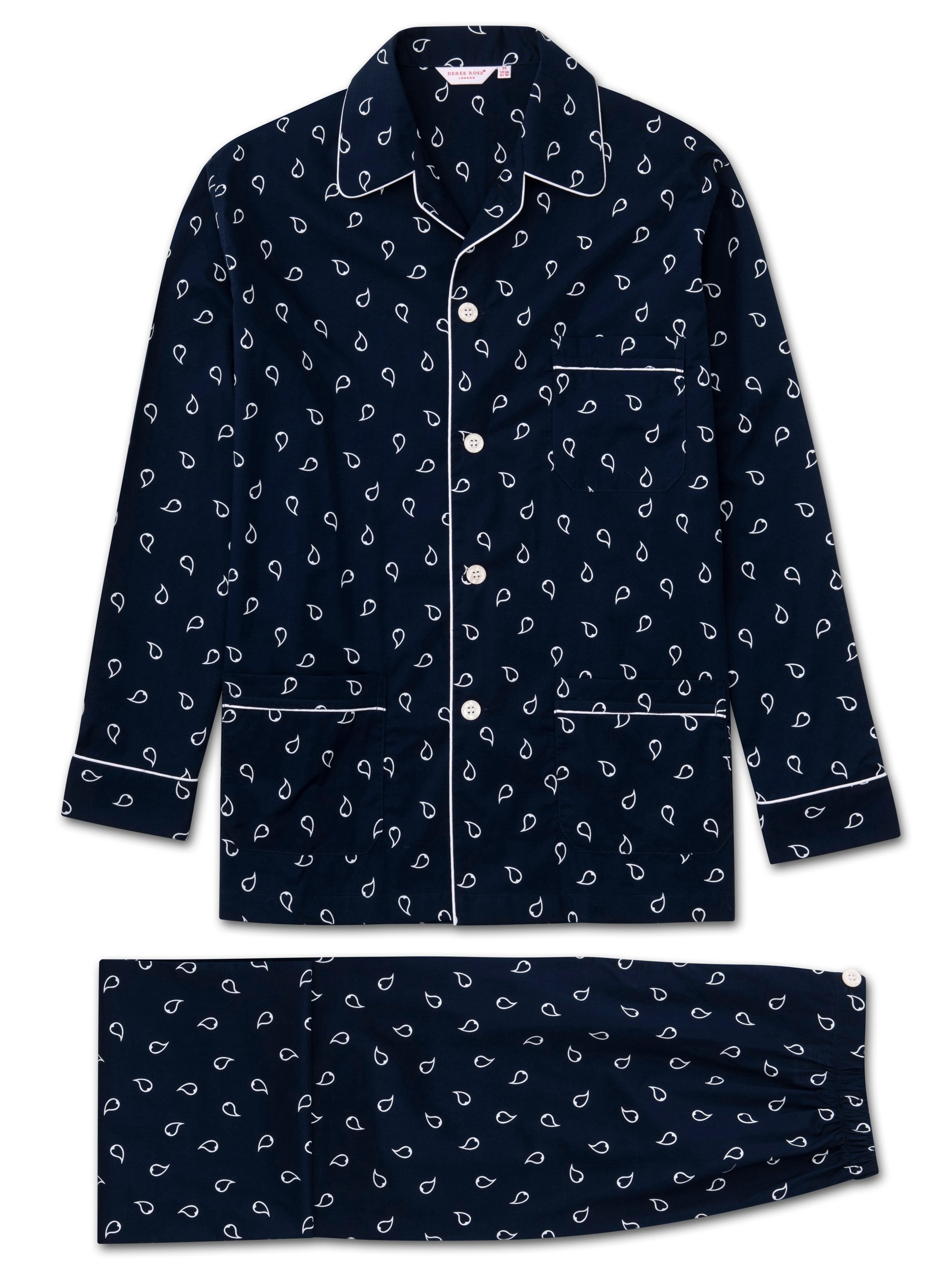 Men's Classic Fit Piped Pyjamas Nelson 74 Cotton Batiste Navy