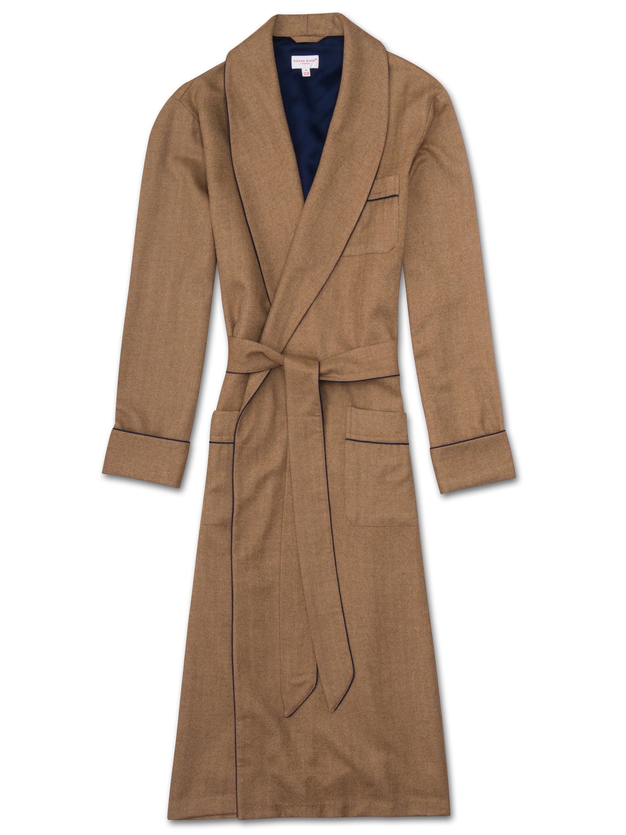 Mens Luxury 100 Cashmere Dressing Gown Camel Derek Rose