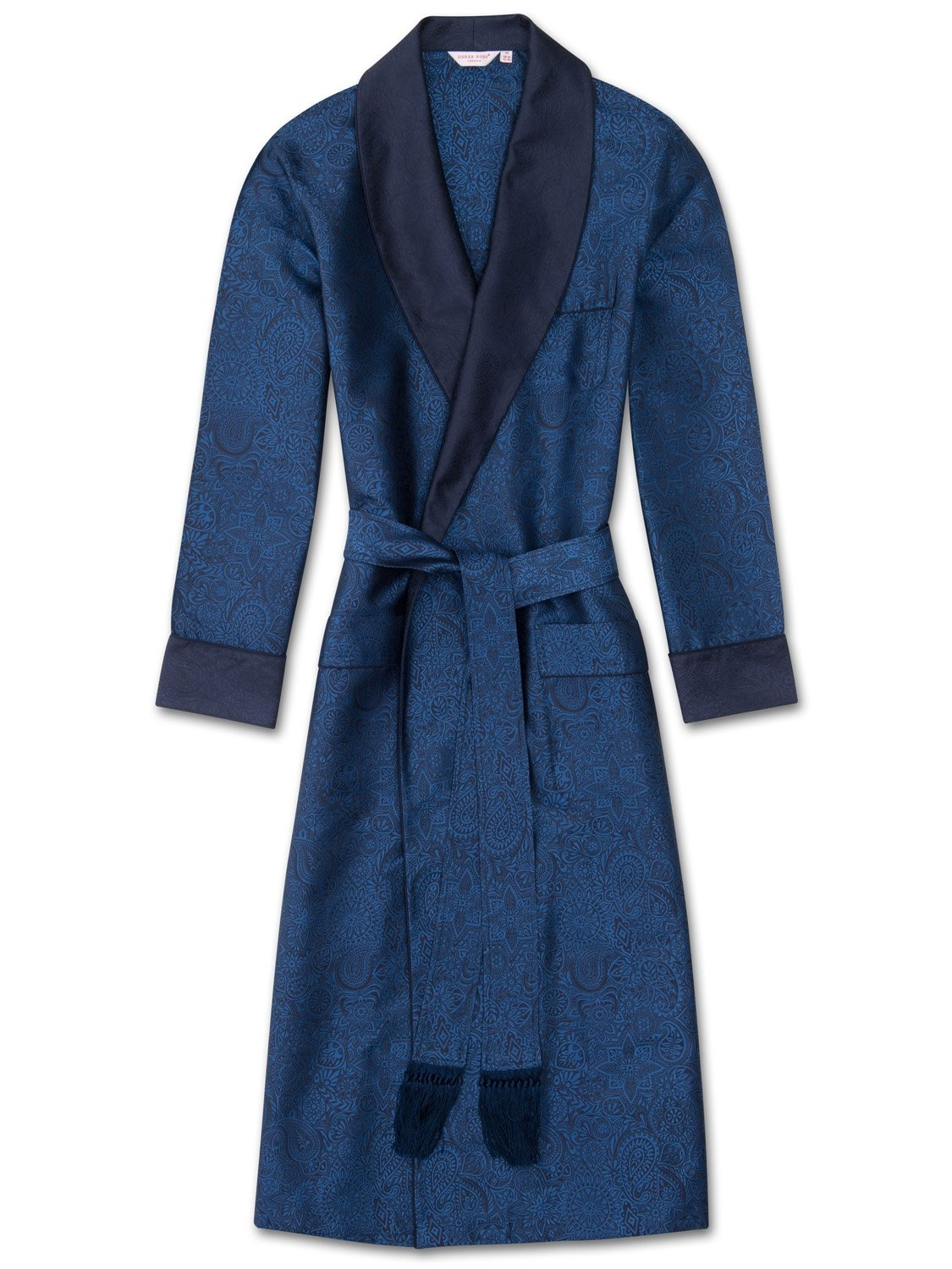 Men's Tasseled Belt Dressing Gown Verona 40 Pure Silk Jacquard Blue