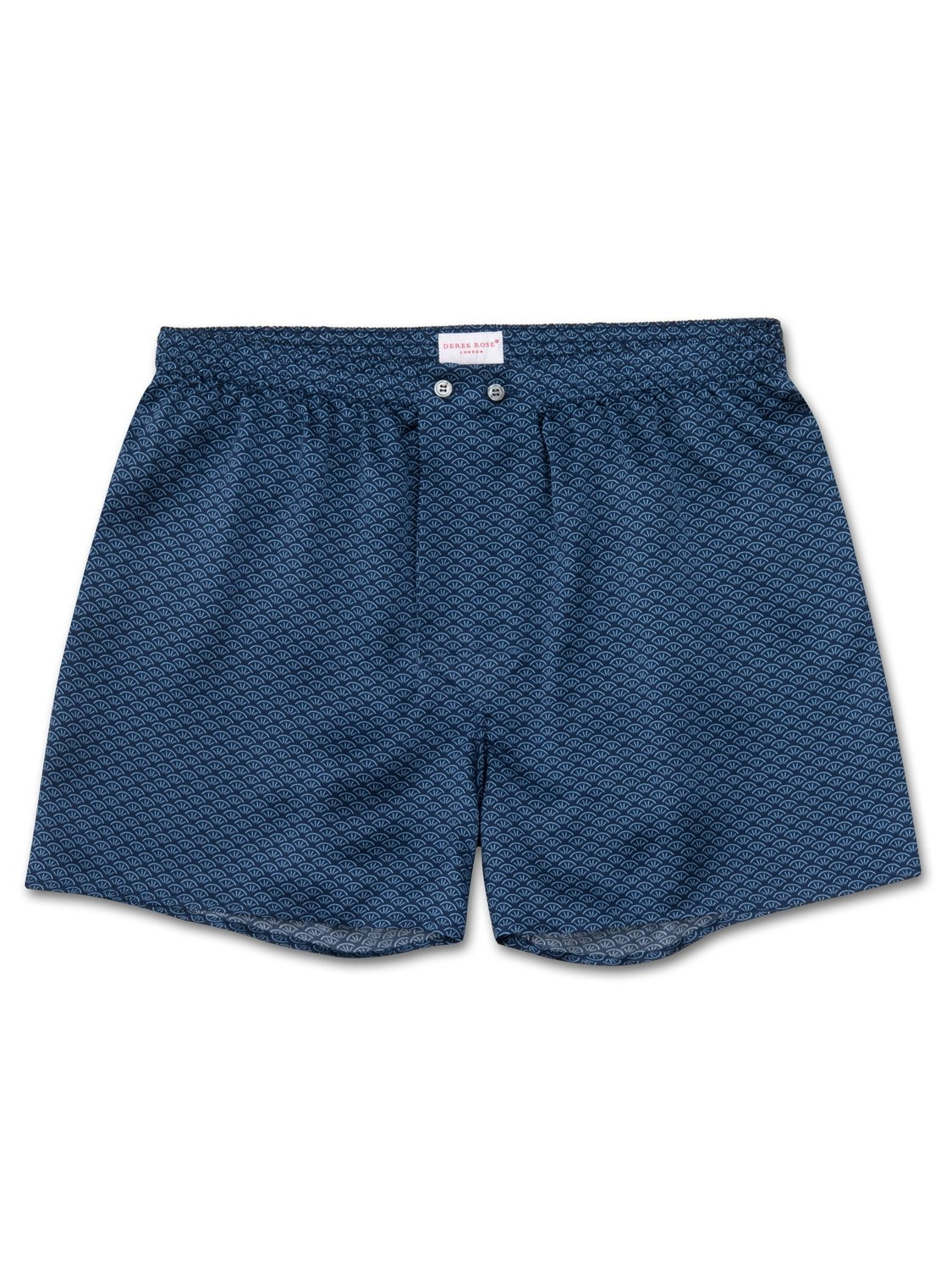 Men's Classic Fit Boxer Shorts Brindisi 26 Pure Silk Satin Navy