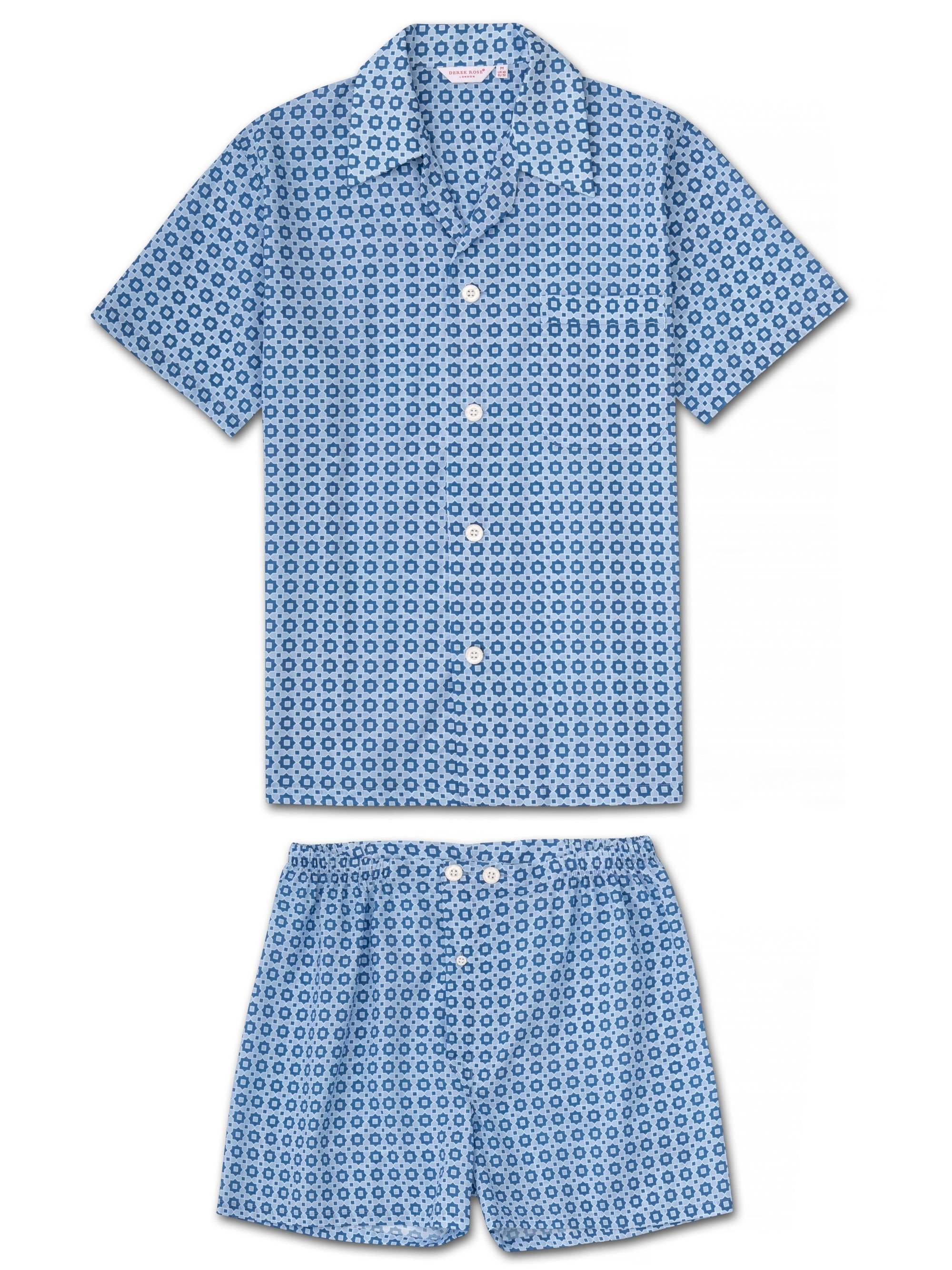 Men's Short Pyjamas Ledbury 34 Cotton Batiste Blue