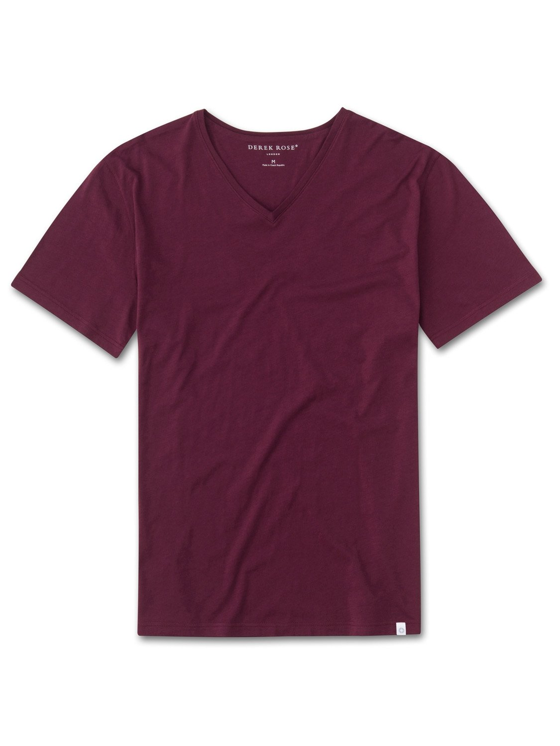 Men's Short Sleeve V-Neck T-Shirt Riley 2 Pima Cotton Burgundy