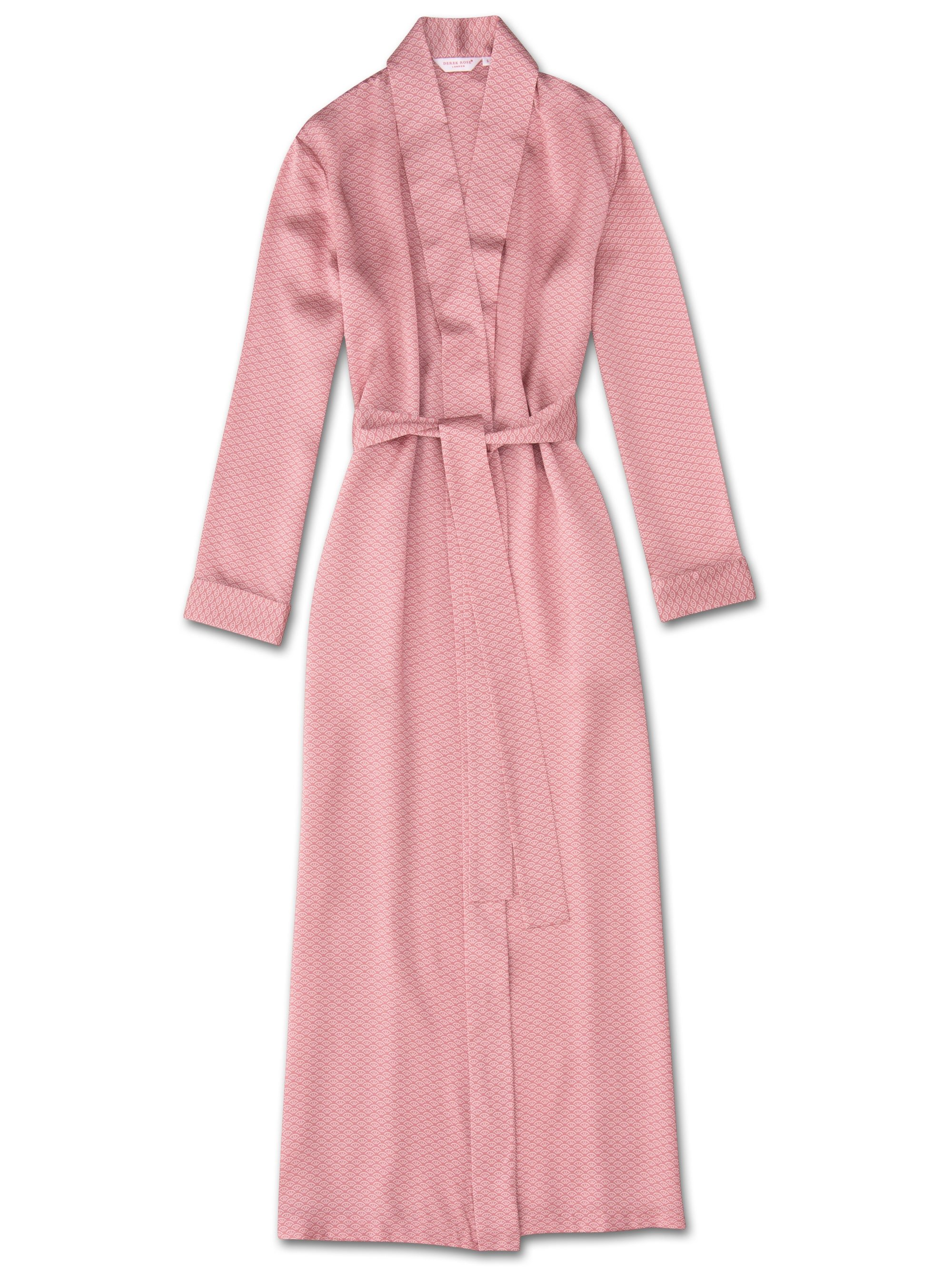 Women's Full Length Dressing Gown Brindisi 26 Pure Silk Satin Pink