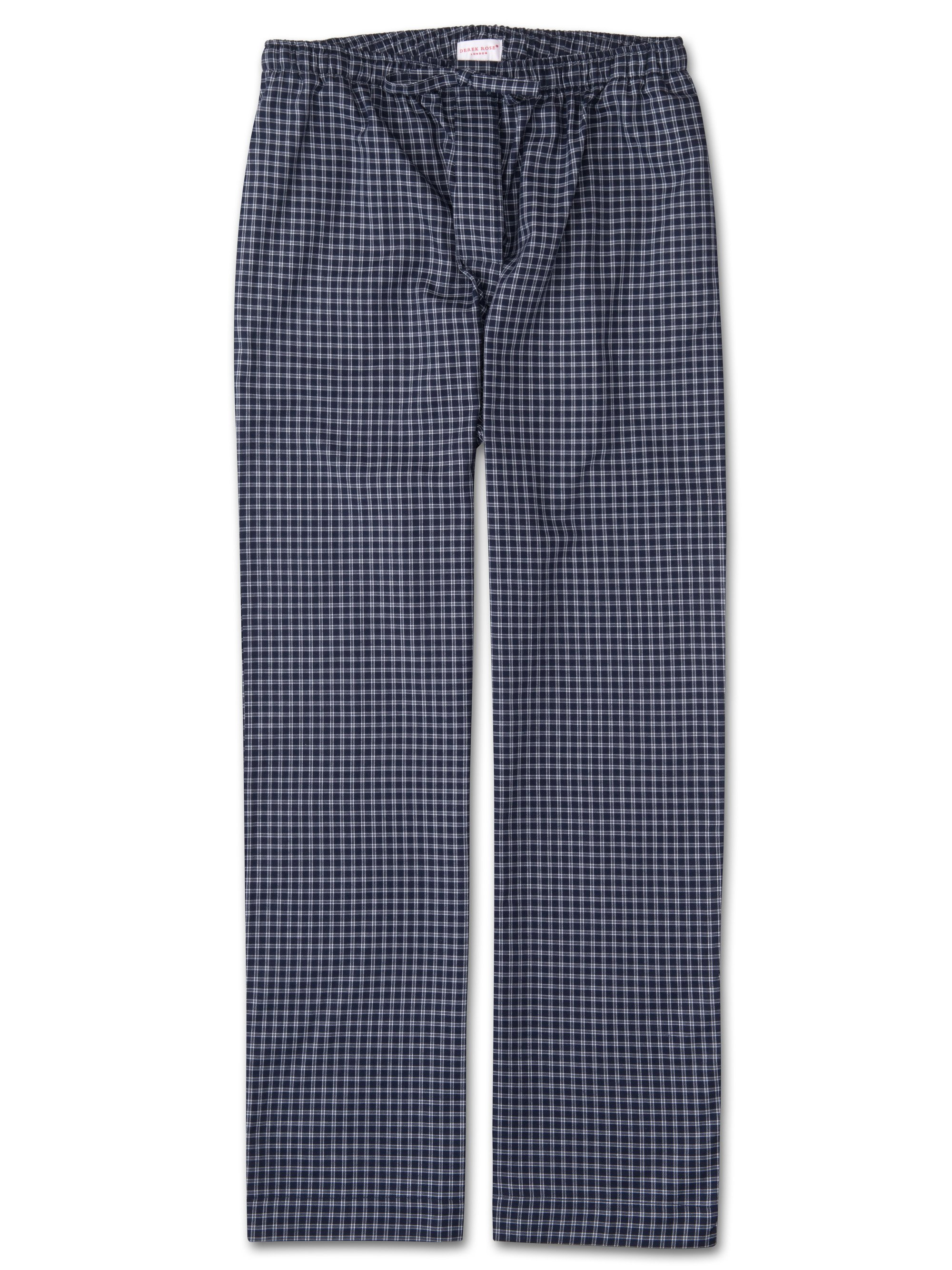 Navy and white checked brushed cotton pyjama bottoms