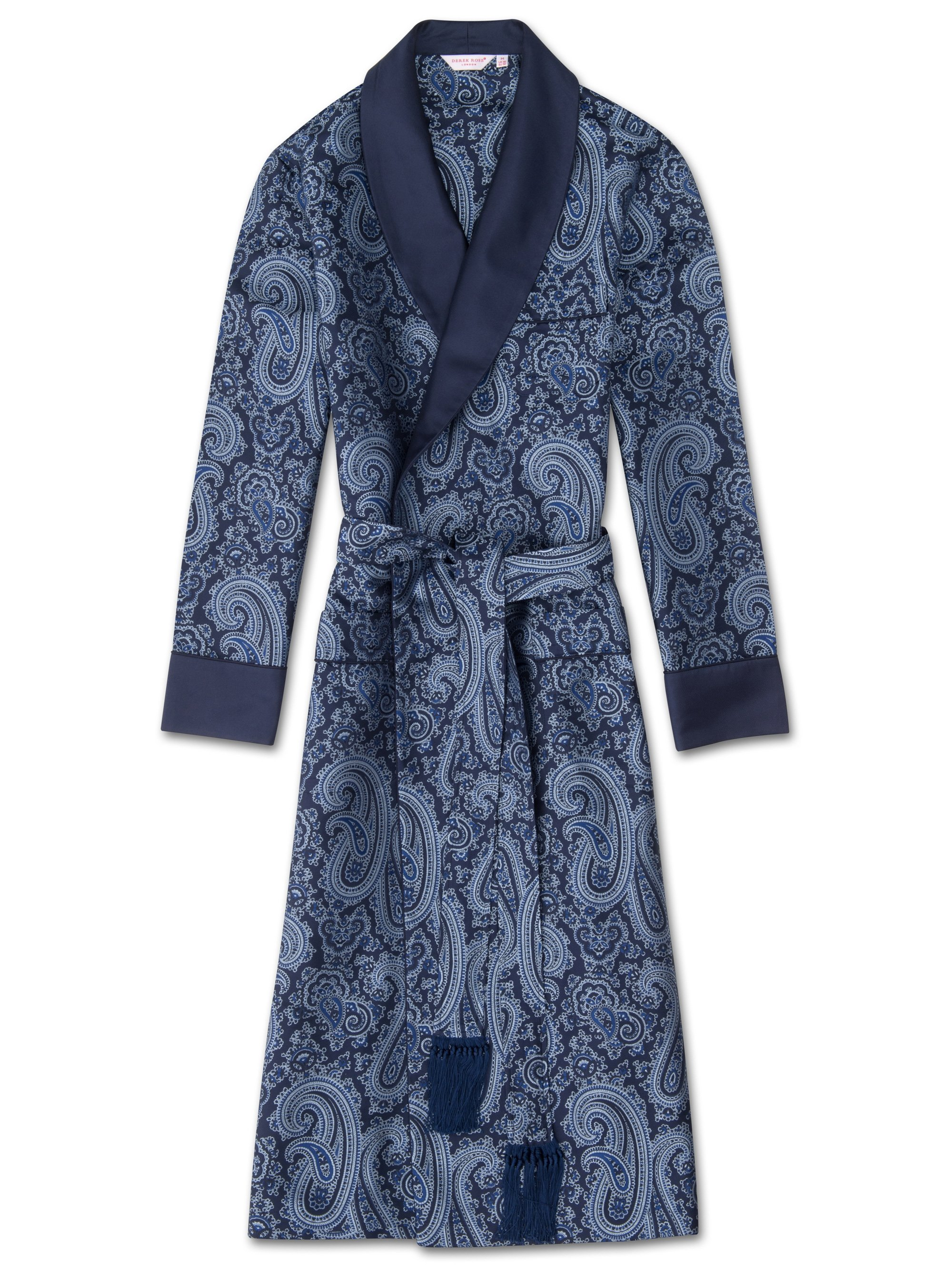 Men's Tasseled Belt Dressing Gown Verona 43 Pure Silk Jacquard Blue