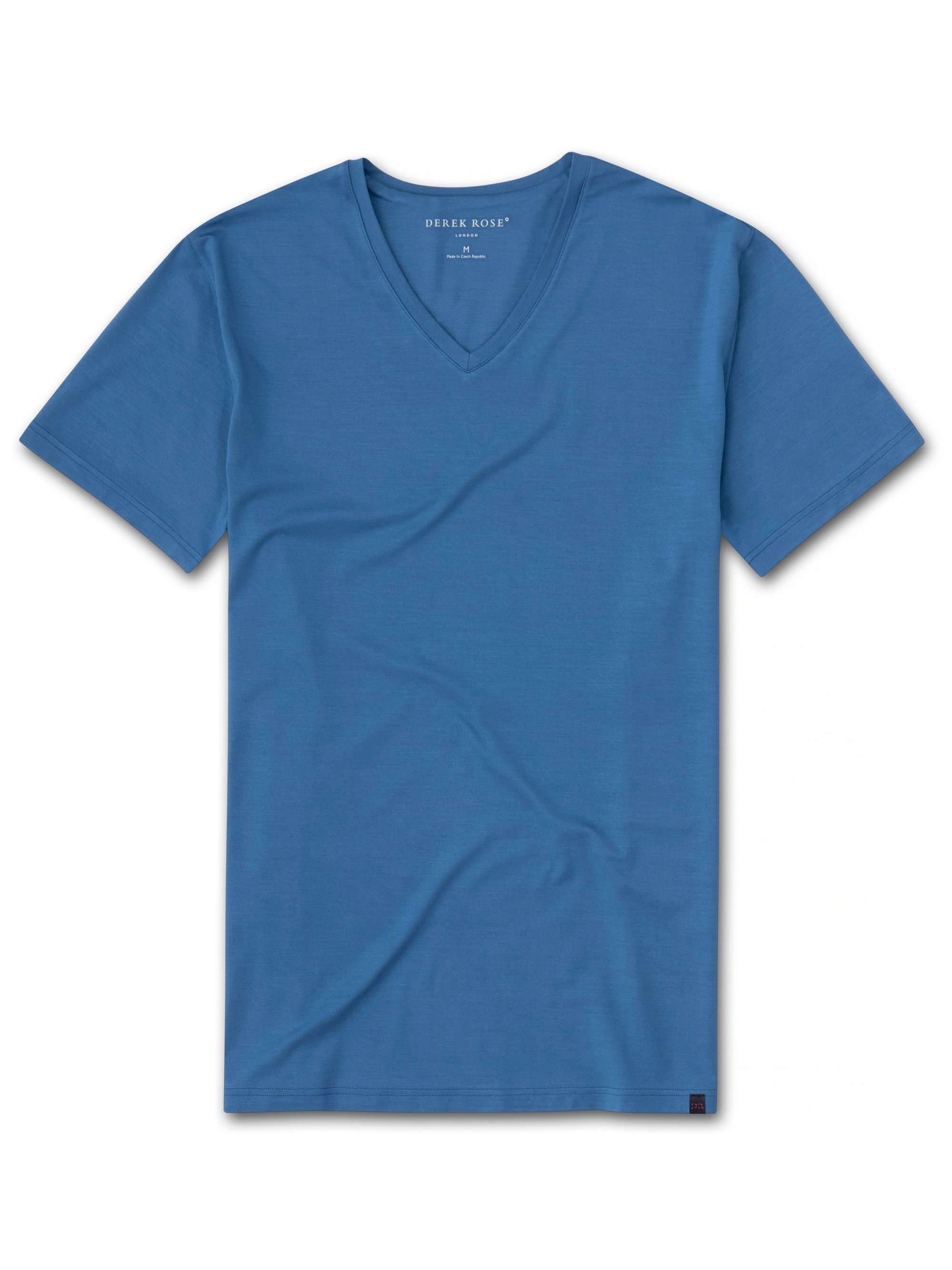 Men's Short Sleeve V-Neck T-Shirt Basel 9 Micro Modal Stretch Blue