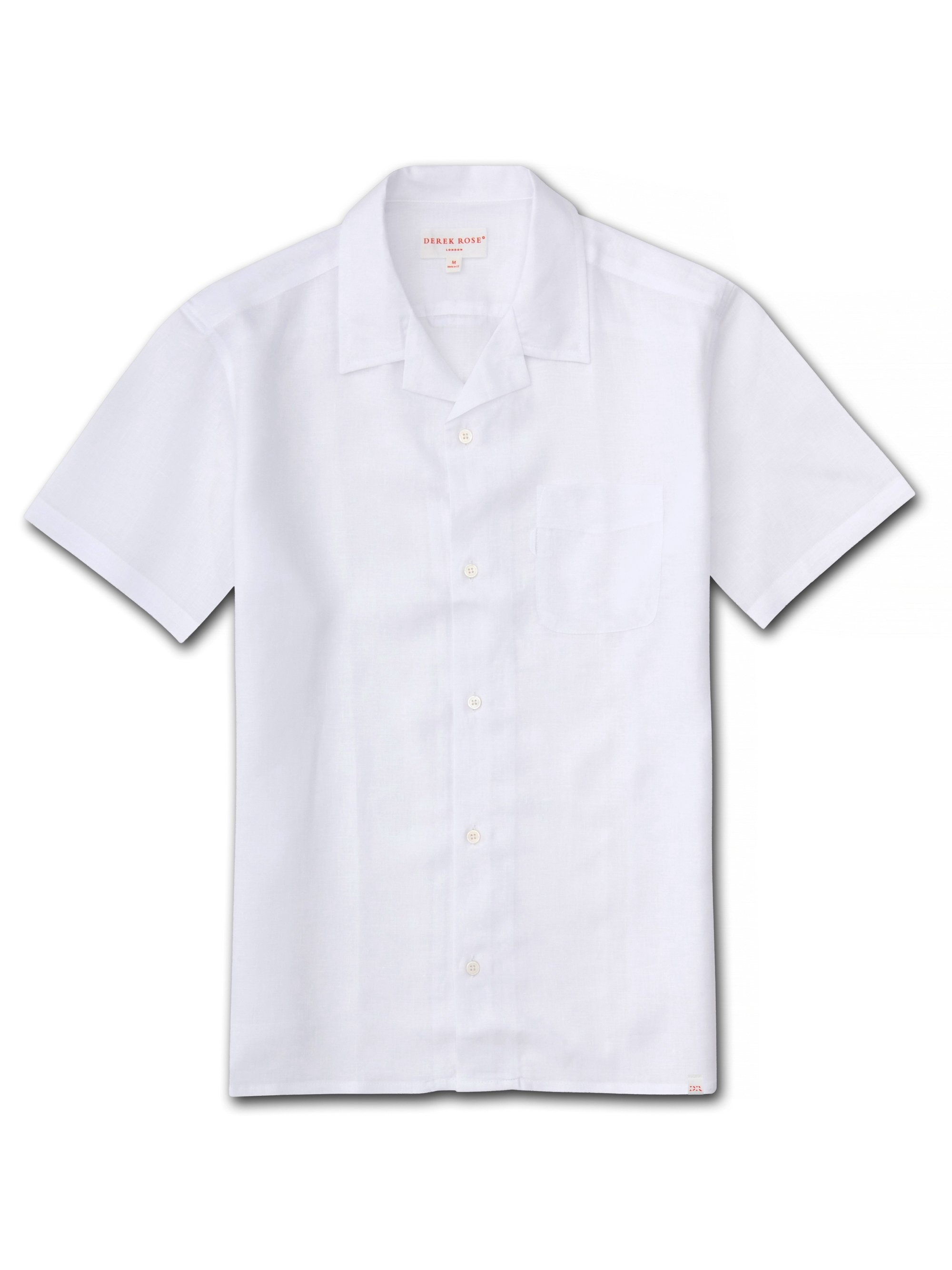 Men's Linen Short Sleeve Shirt Monaco Pure Linen White