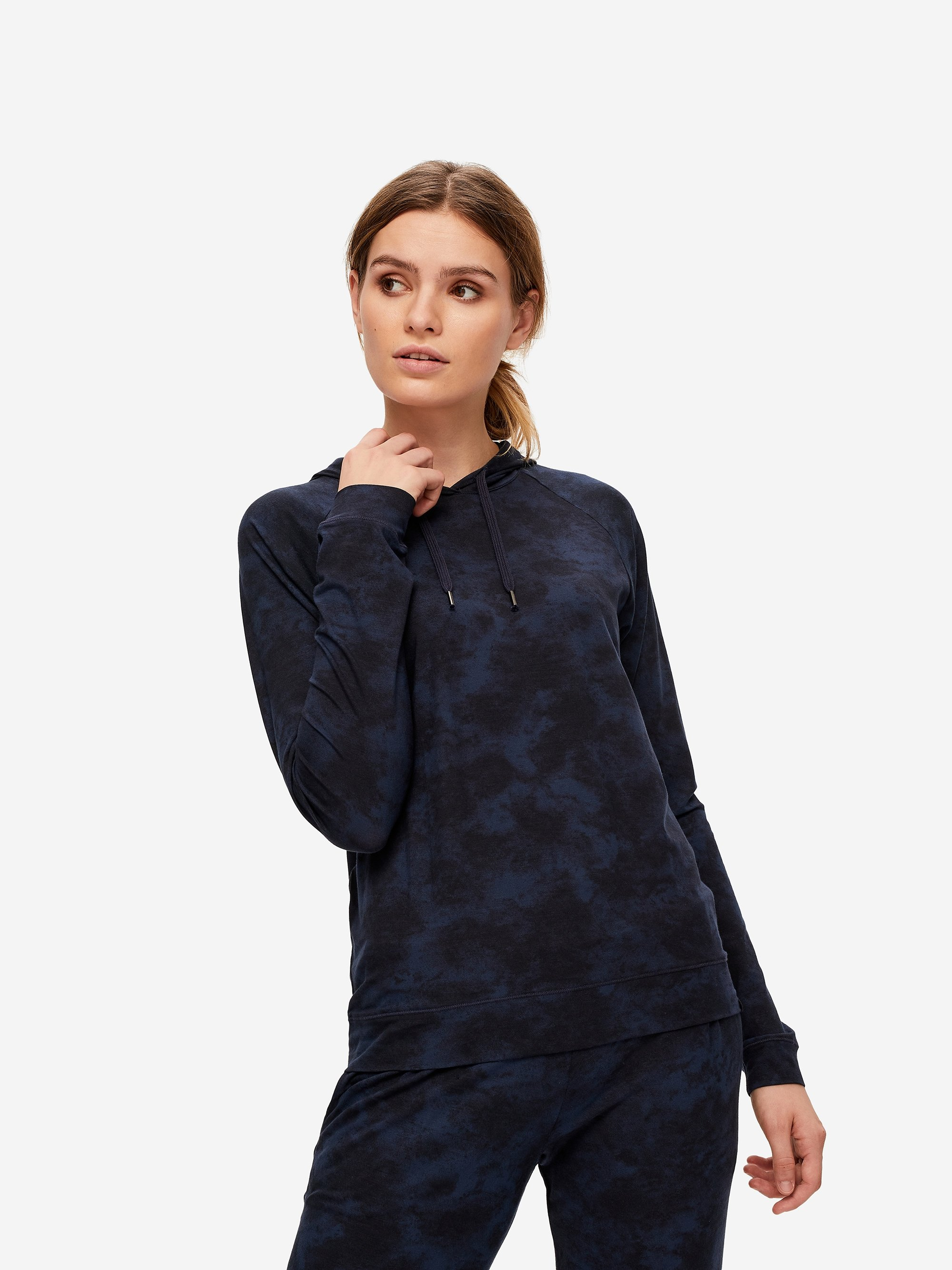 Women's Jersey Pullover Hoodie London 4 Micro Modal Stretch Navy
