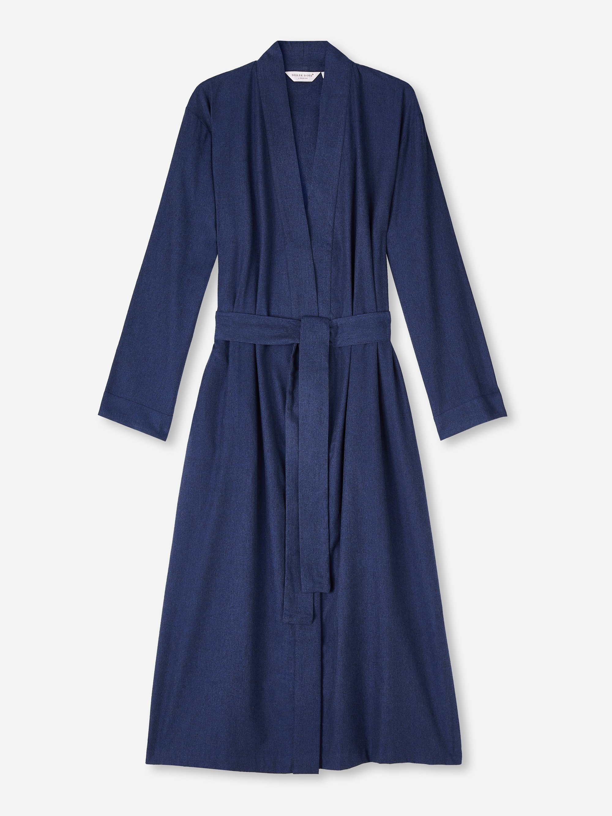 Women's Mid Length Dressing Gown Balmoral 3 Brushed Cotton Navy