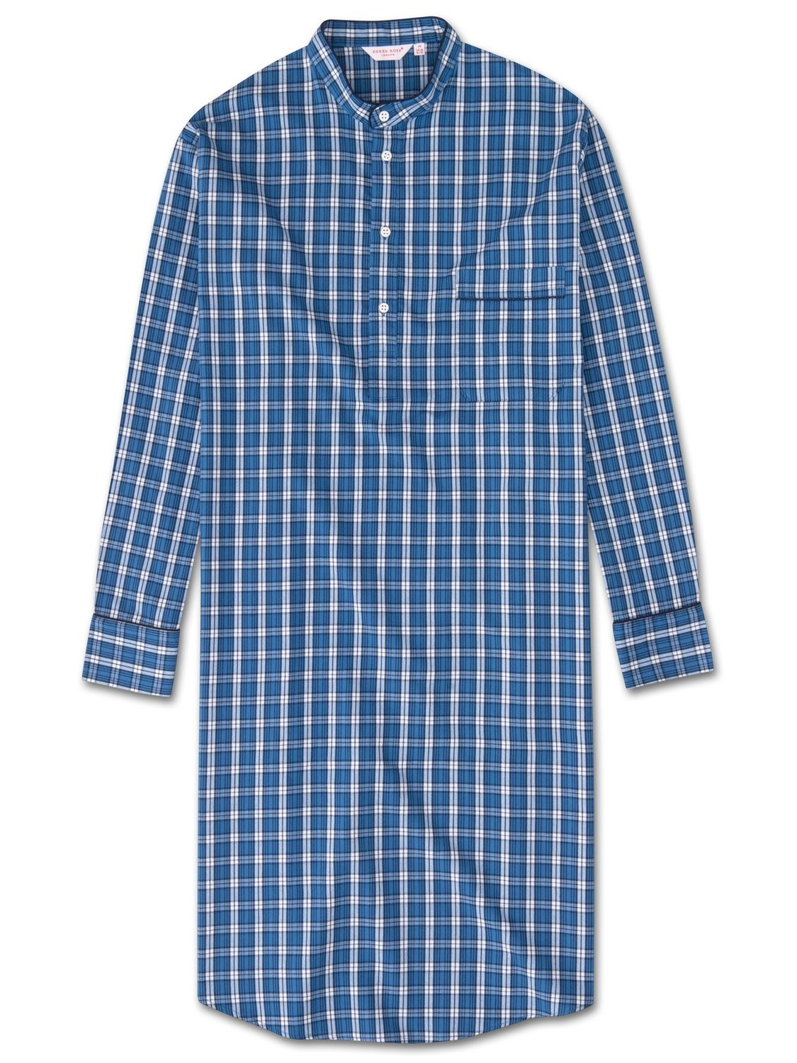 Men's Pullover Nightshirt Ranga 32 Brushed Cotton Check Blue