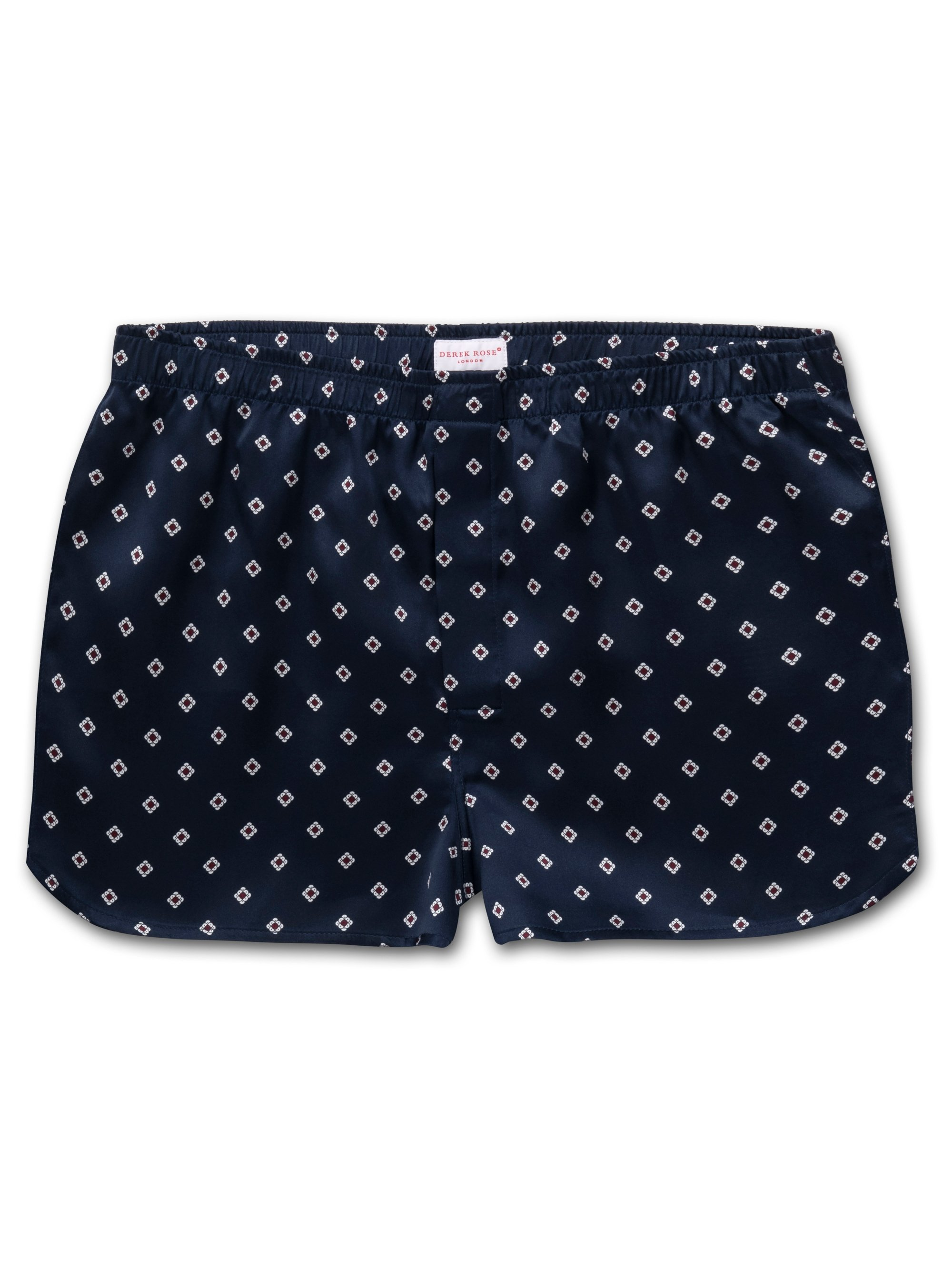 Men's Modern Fit Boxer Shorts Brindisi 58 Pure Silk Satin Navy