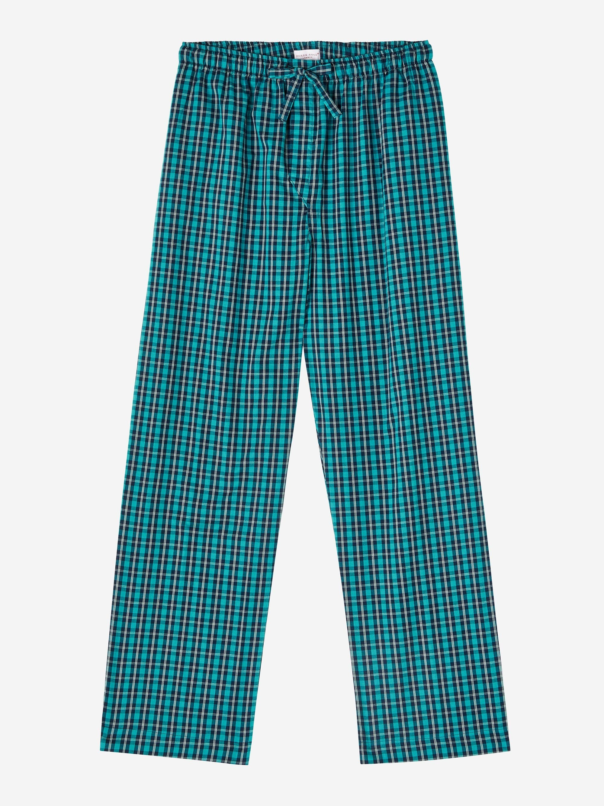 Men's Lounge Trousers Braemar 45 Brushed Cotton Check Multi