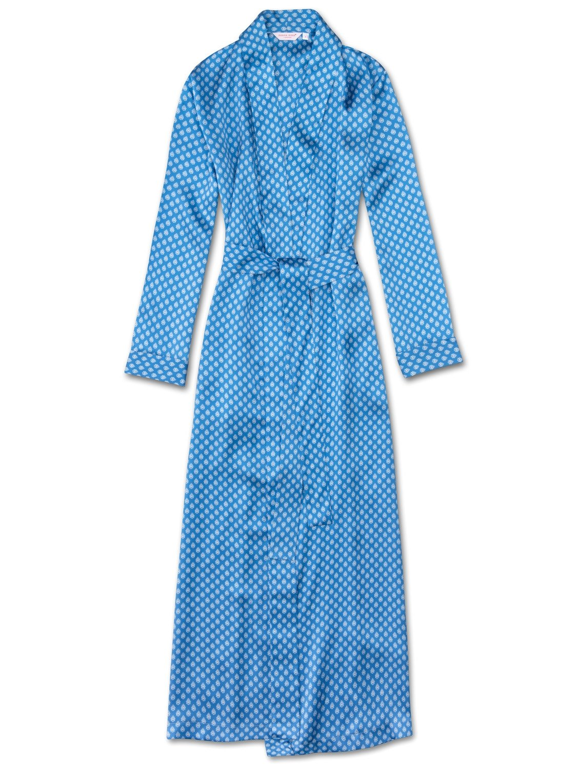 Women's Full Length Dressing Gown Brindisi 20 Pure Silk Satin Blue