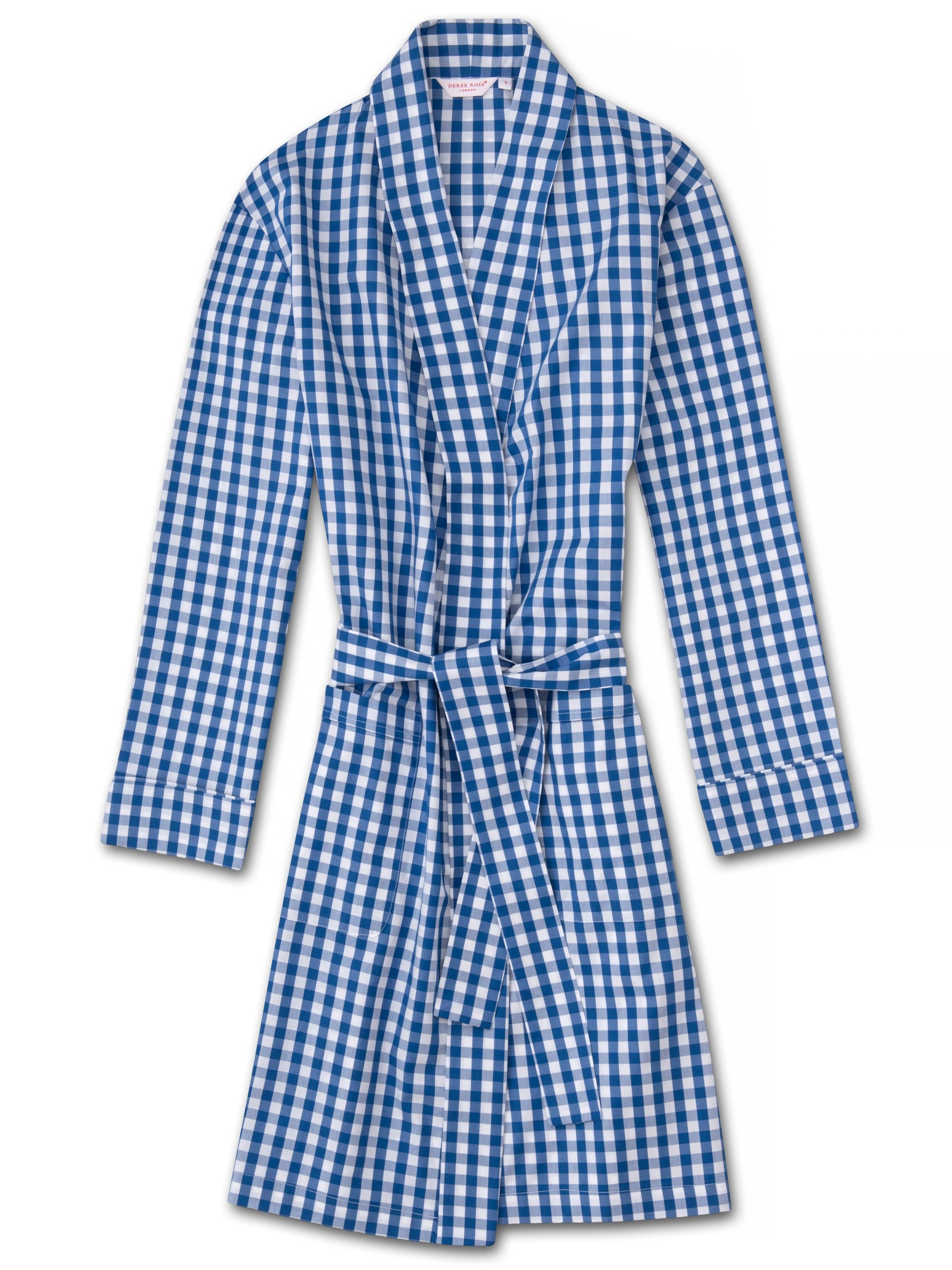 Women's Dressing Gown Barker 26 Cotton Check Blue