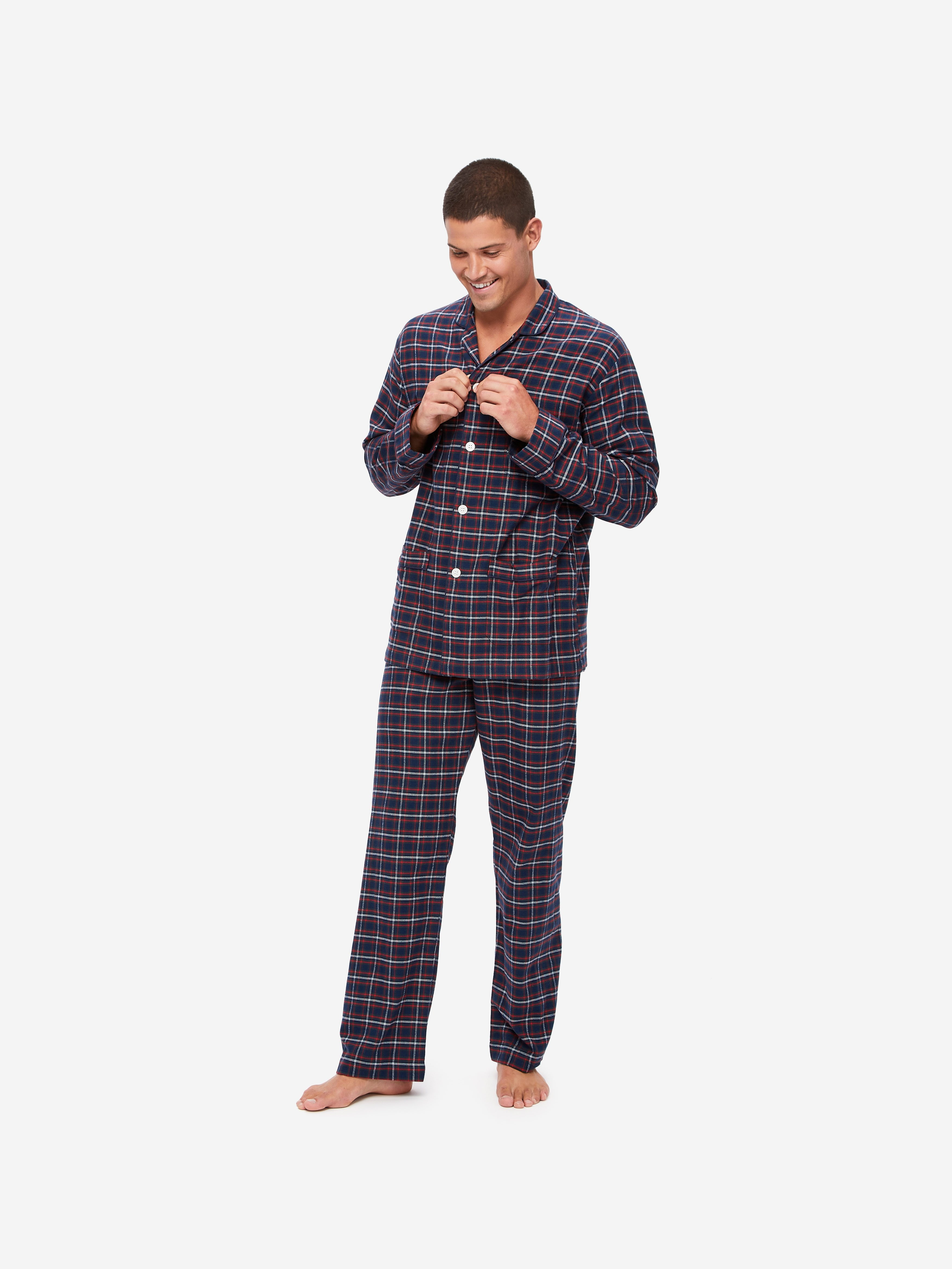 Men's Classic Fit Piped Pyjamas Kelburn 17 Brushed Cotton Check Multi