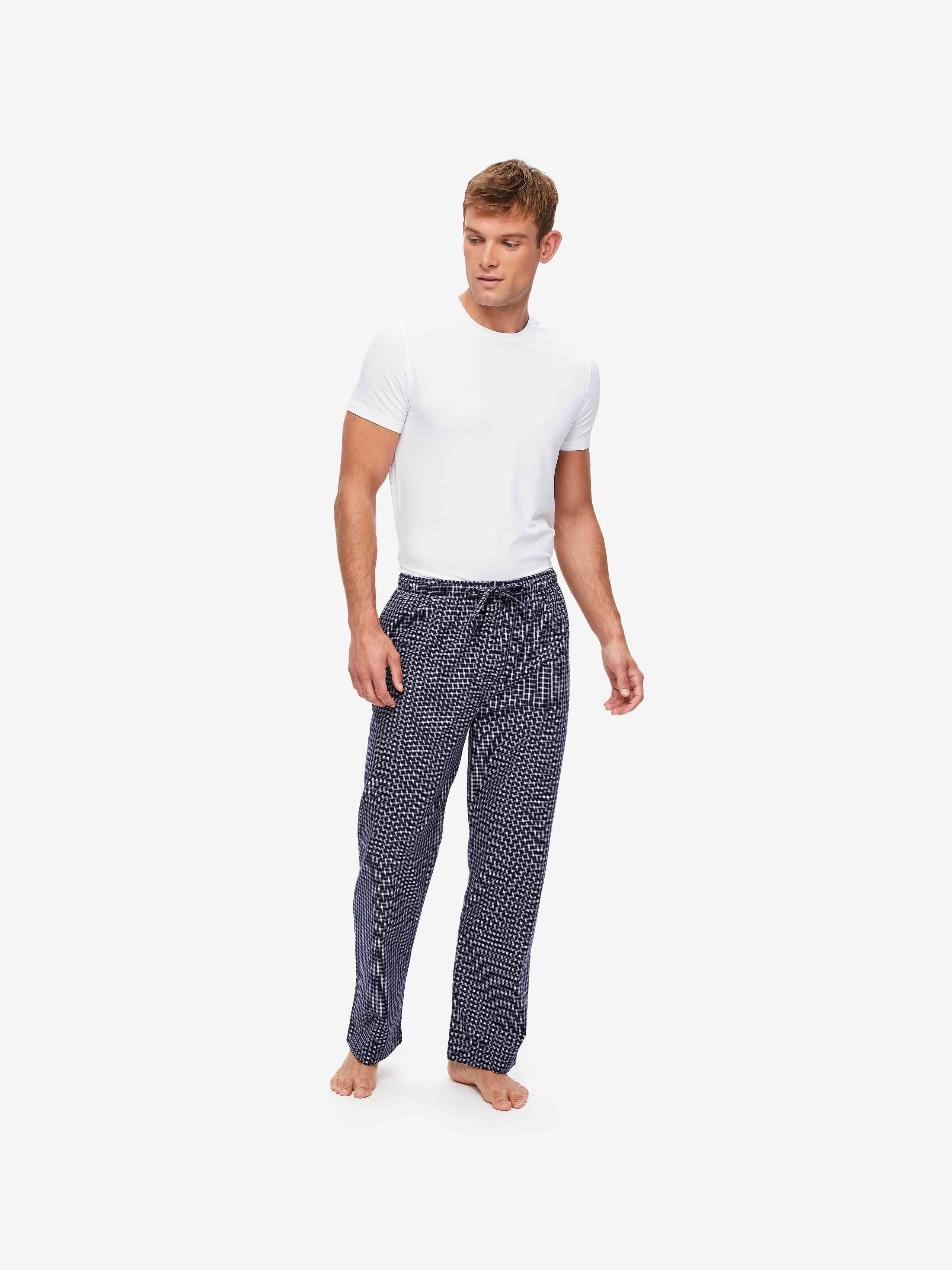 Men's Lounge Trousers Braemar 32 Brushed Cotton Navy