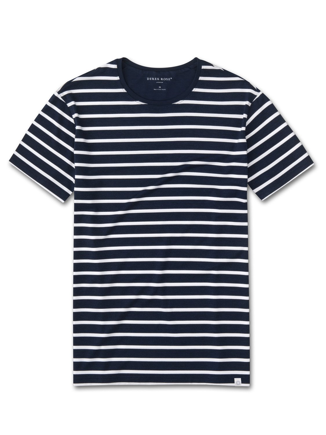 Men 39 s micro modal stretch t shirt stripe navy derek rose for Modal t shirts mens