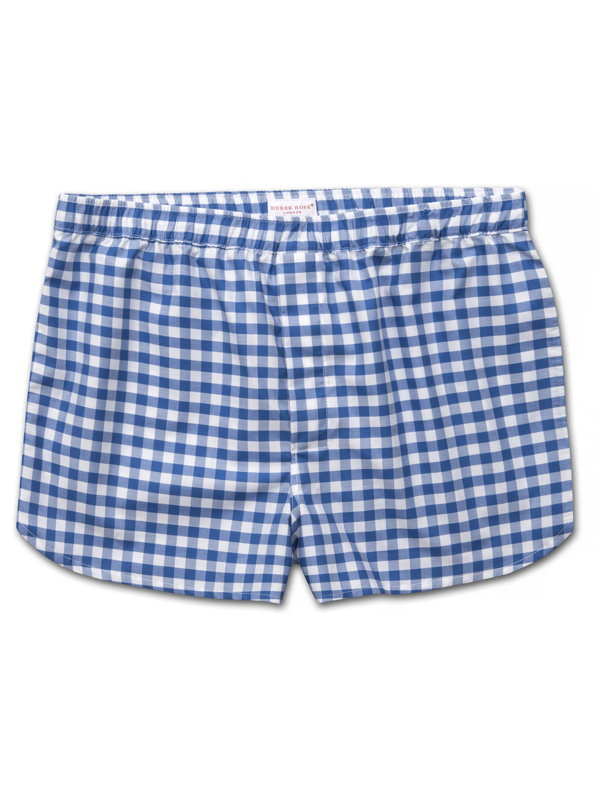 Men's Modern Fit Boxer Shorts Barker 26 Cotton Check Blue