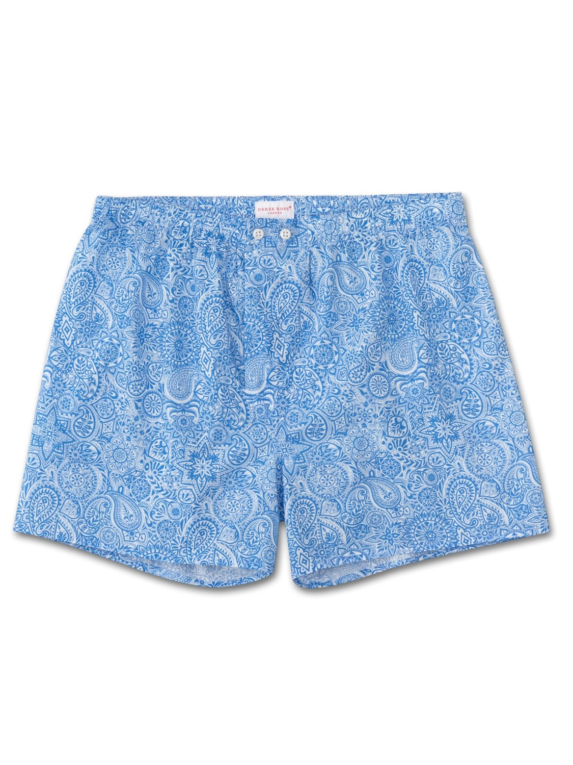 Men's Classic Fit Boxer Shorts Ledbury 6 Cotton Batiste Blue