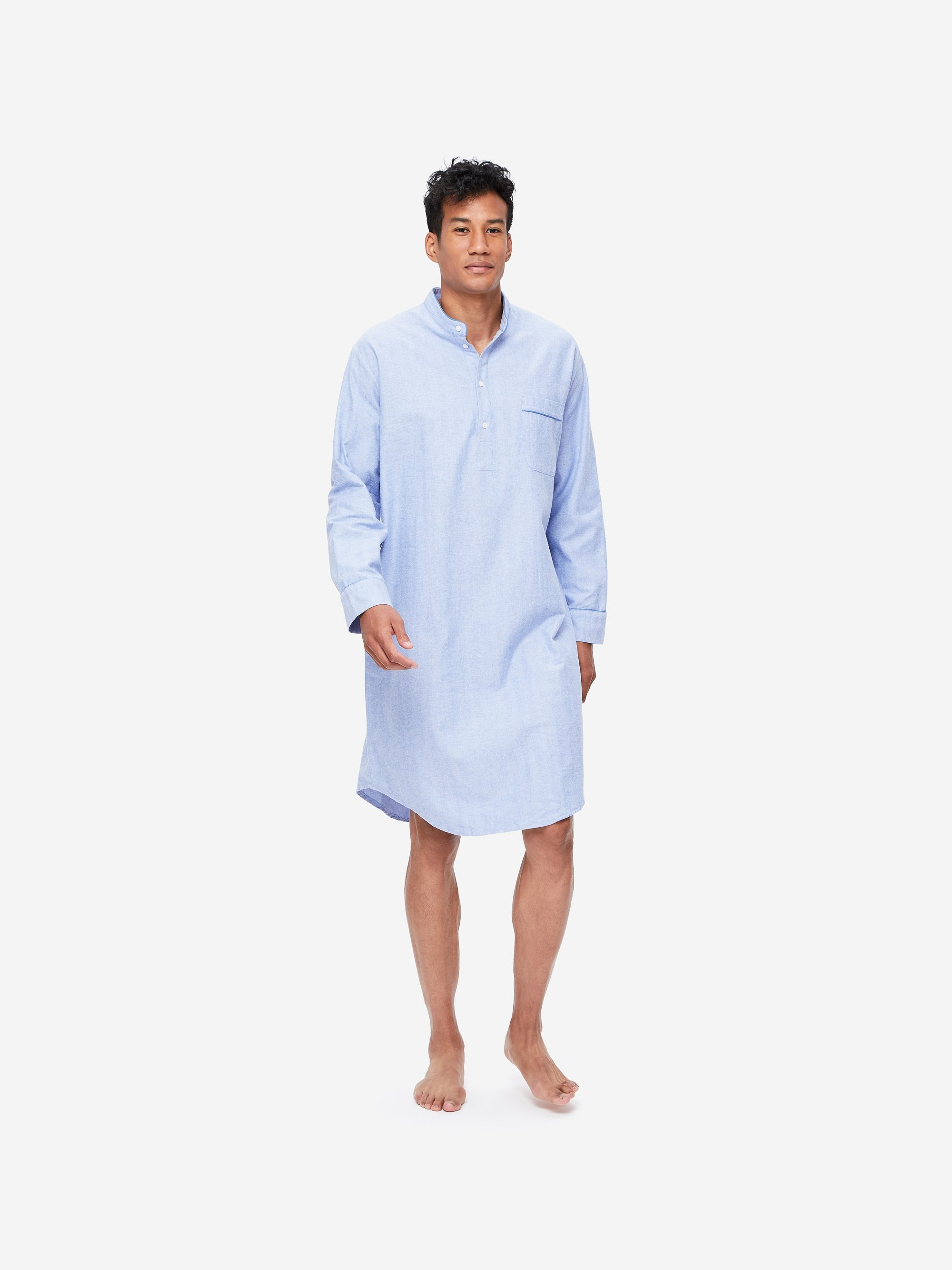 Men's Pullover Nightshirt Arran 24 Brushed Herringbone Cotton Blue