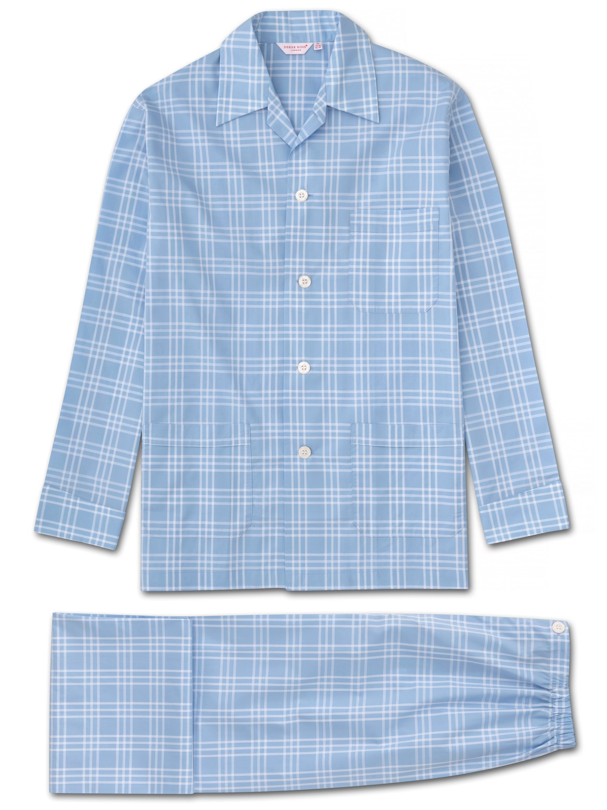Men's Classic Fit Pyjamas Barker 27 Cotton Check Blue